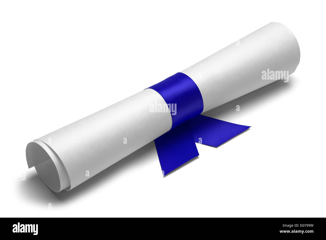 Diploma tied with blue ribbon on a white isolated background. - Stock Image