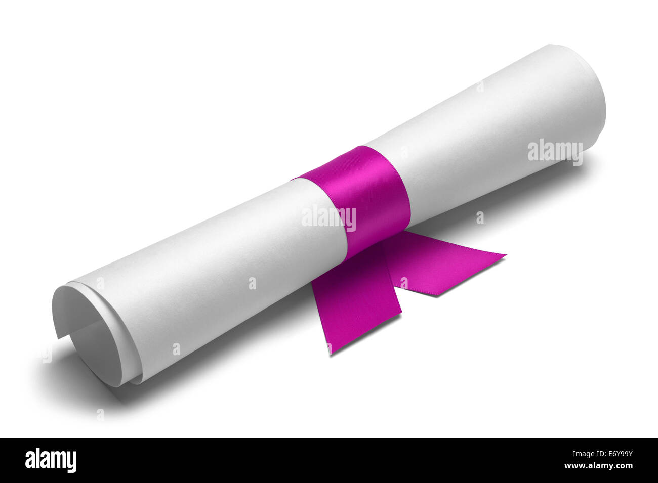 Diploma tied with pink ribbon on a white isolated background. - Stock Image