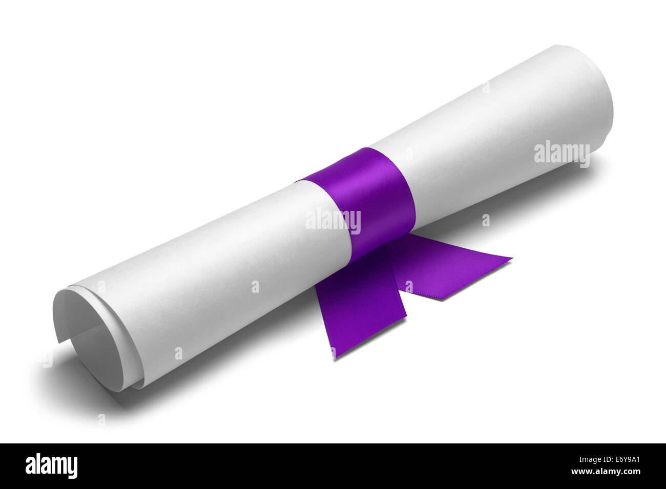 Diploma tied with purple ribbon on a white isolated background. - Stock Image