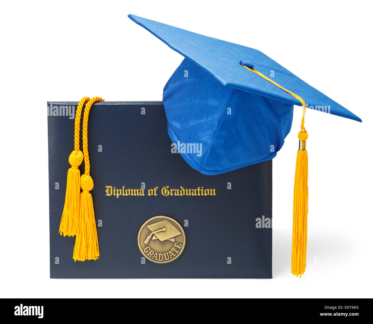 Diploma of Graduation with Blue Mortar Board and Honor Cords Isolated on White Background. - Stock Image