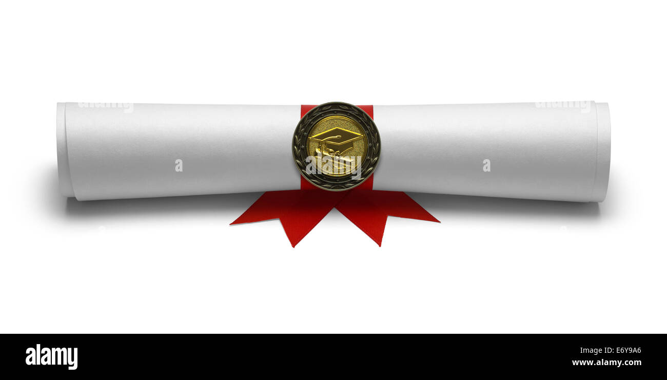Graduation Degree Scroll with Medal Isolated on White Background. - Stock Image