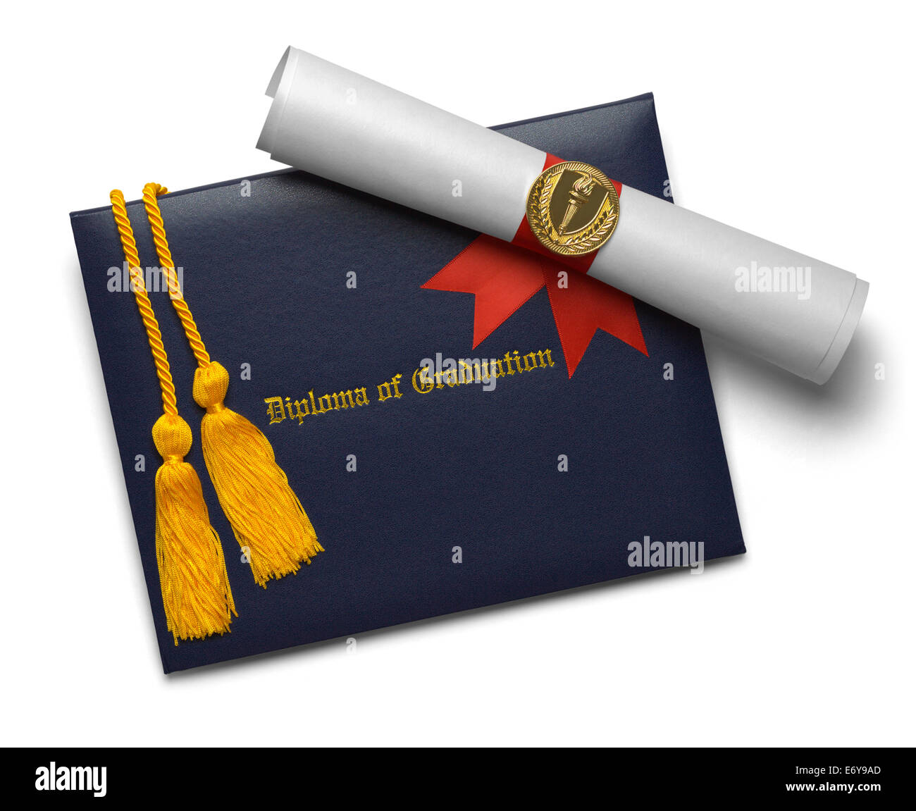 Blue Diploma of Graduation Cover with Degree Scroll and Torch Medal with Honor Cords Isolated on White Background. - Stock Image