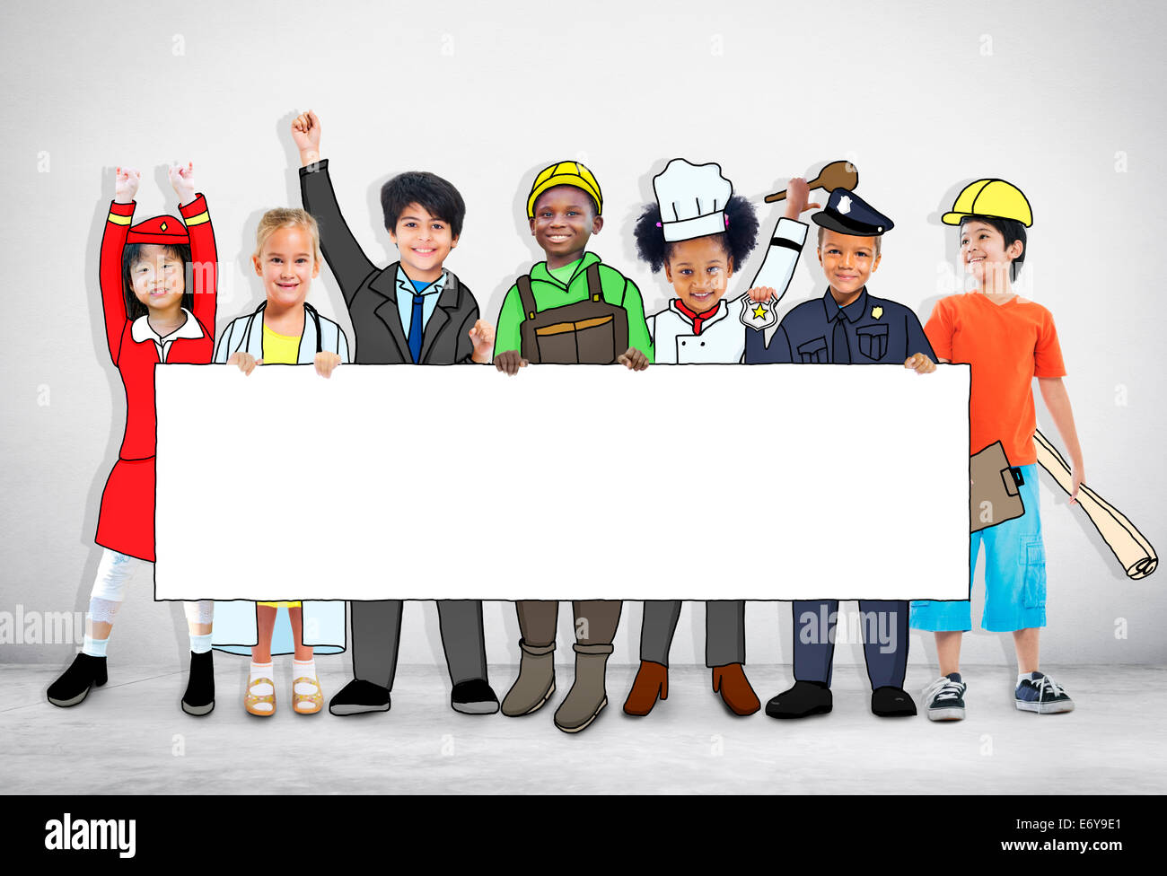 Children Wearing Future Job Uniforms - Stock Image