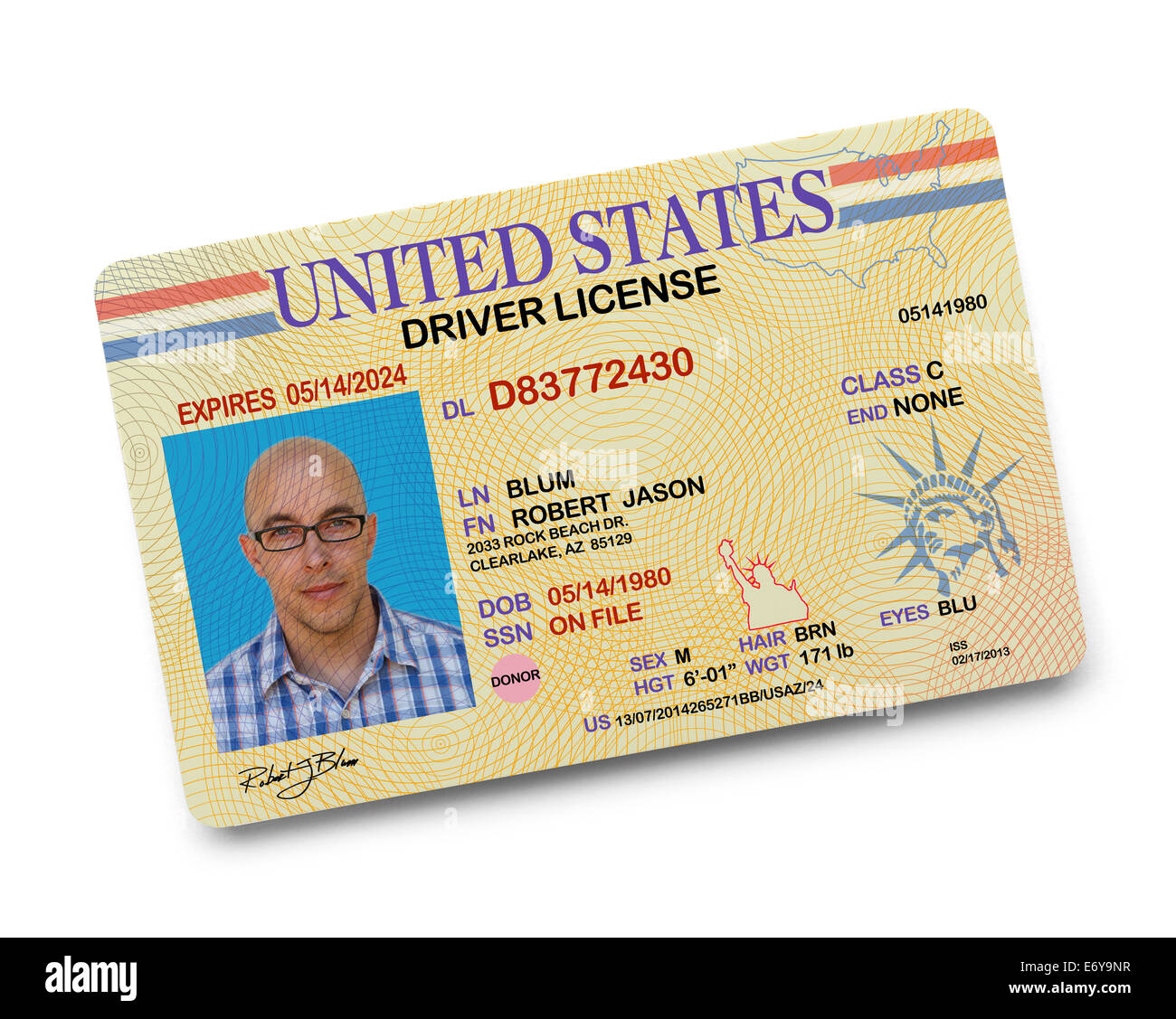 US Driver License Isolated on White Background. - Stock Image