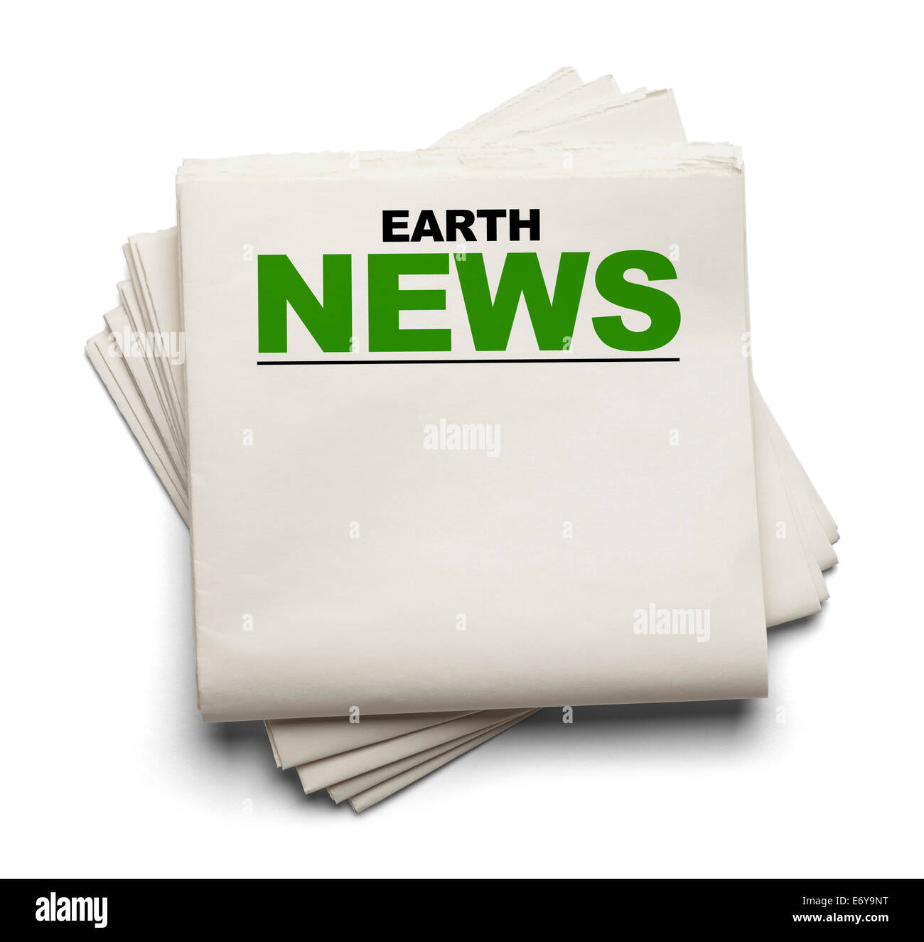 Blank Newspaper With Earth News At Top Isolated On White Background