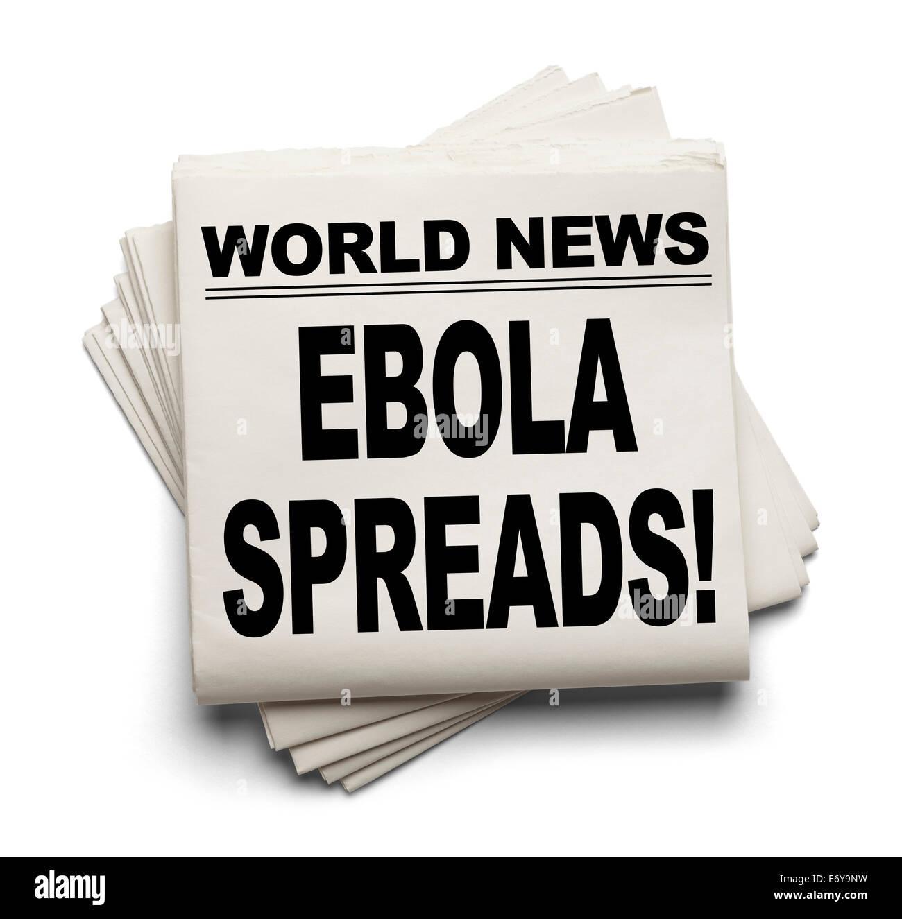 World News Paper Headline Ebola Spreads Isolated on White Background. - Stock Image