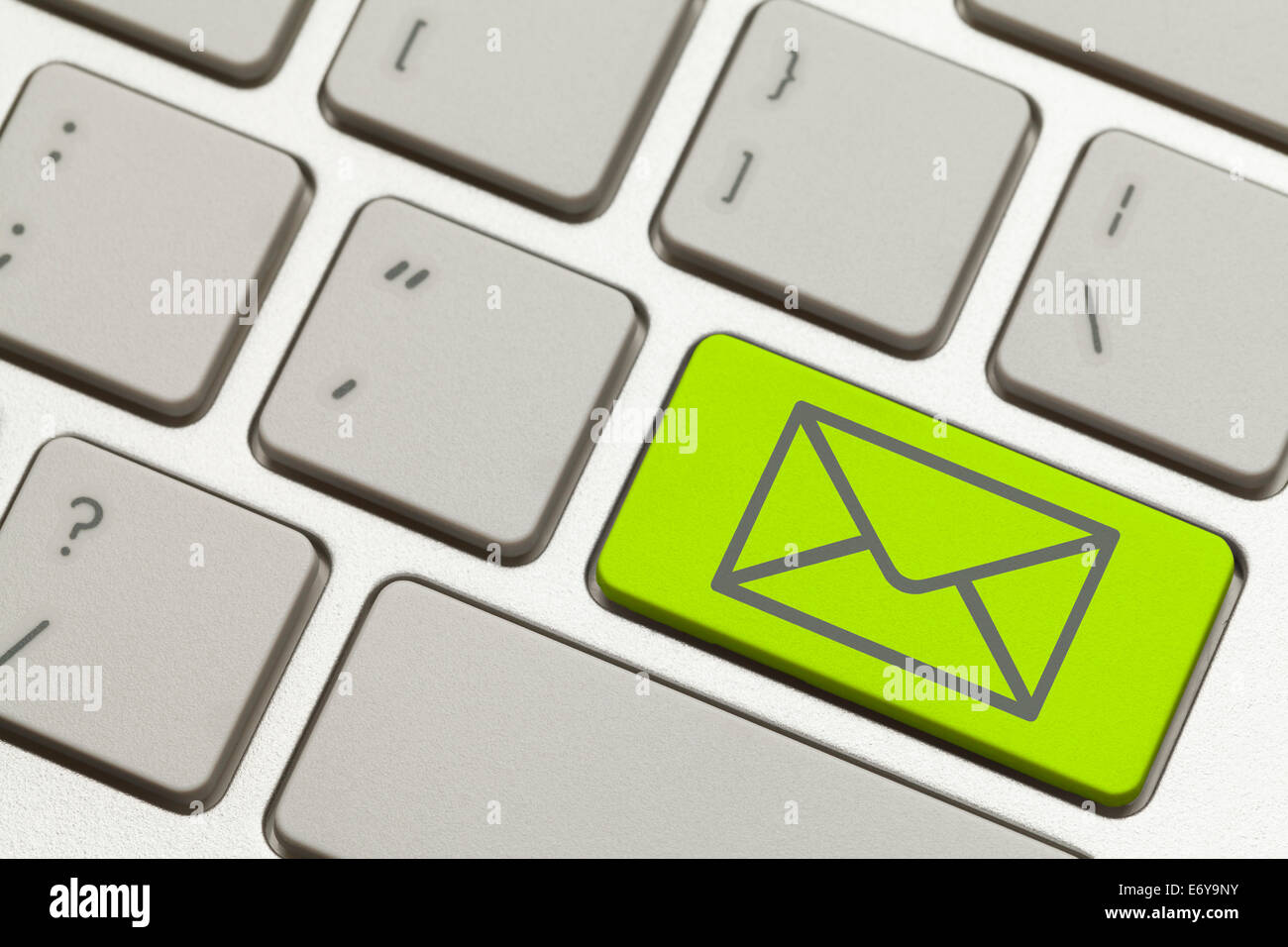 Close Up of Green Email Envelope Key on a Keyboard. - Stock Image