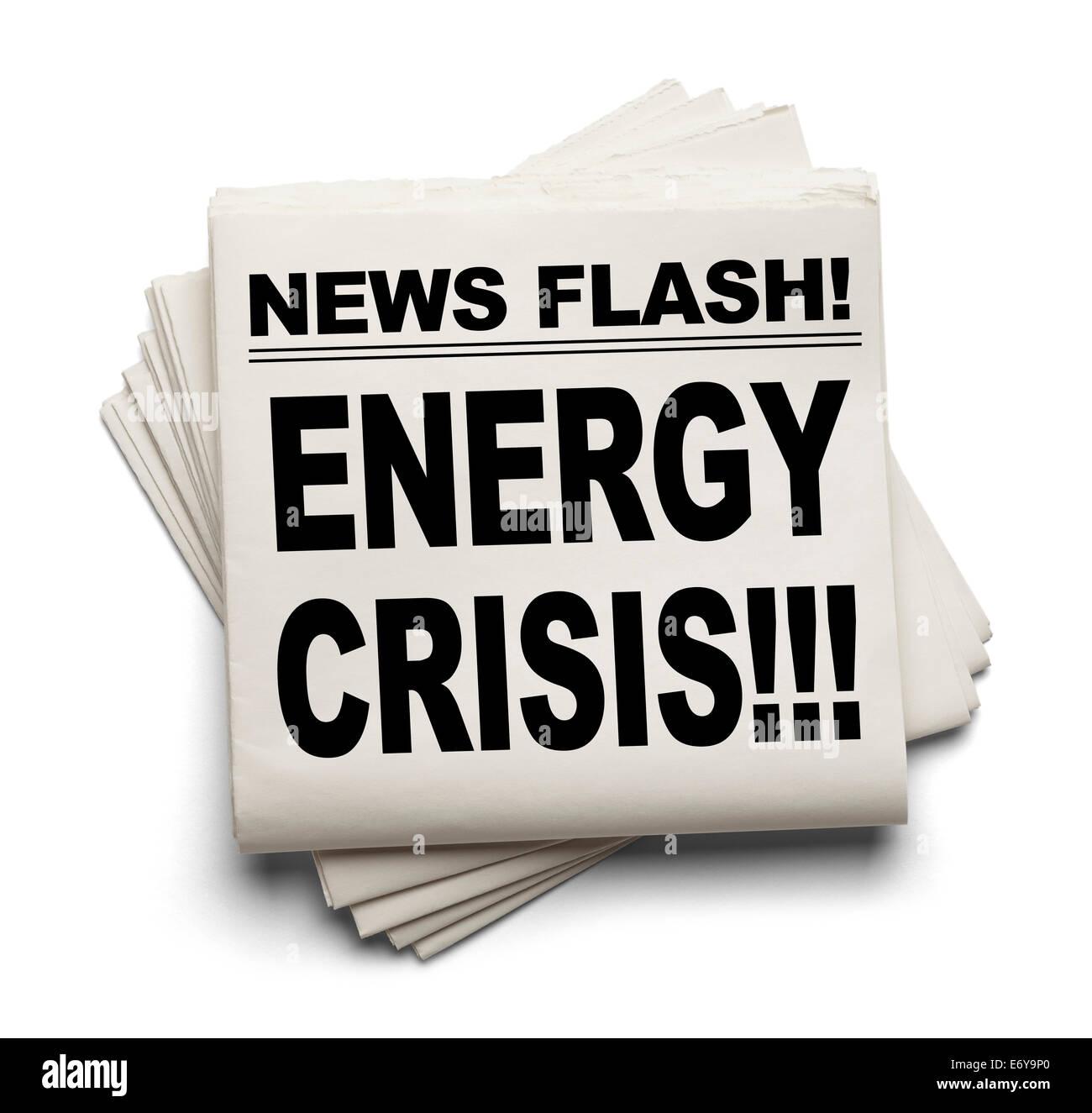 News Flash Energy Crisis News Paper Isolated on White Background. - Stock Image
