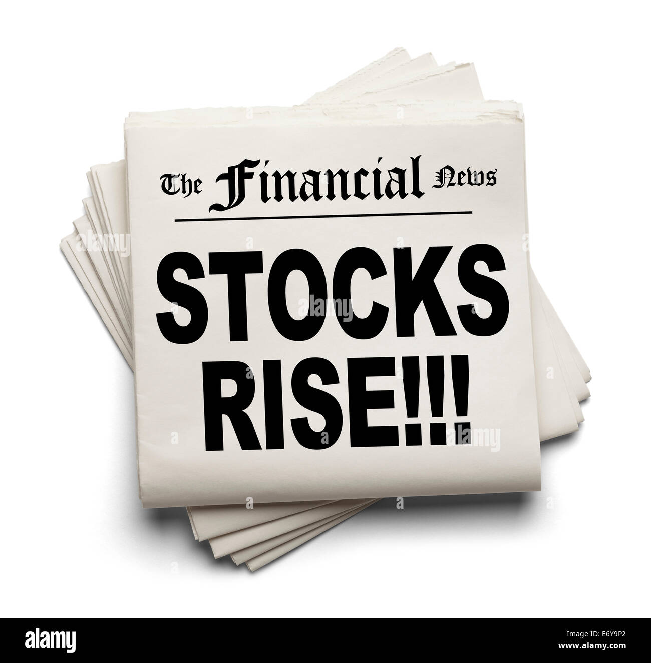 Financial News Paper Headline Stocks Rise Isolated on White Background. - Stock Image