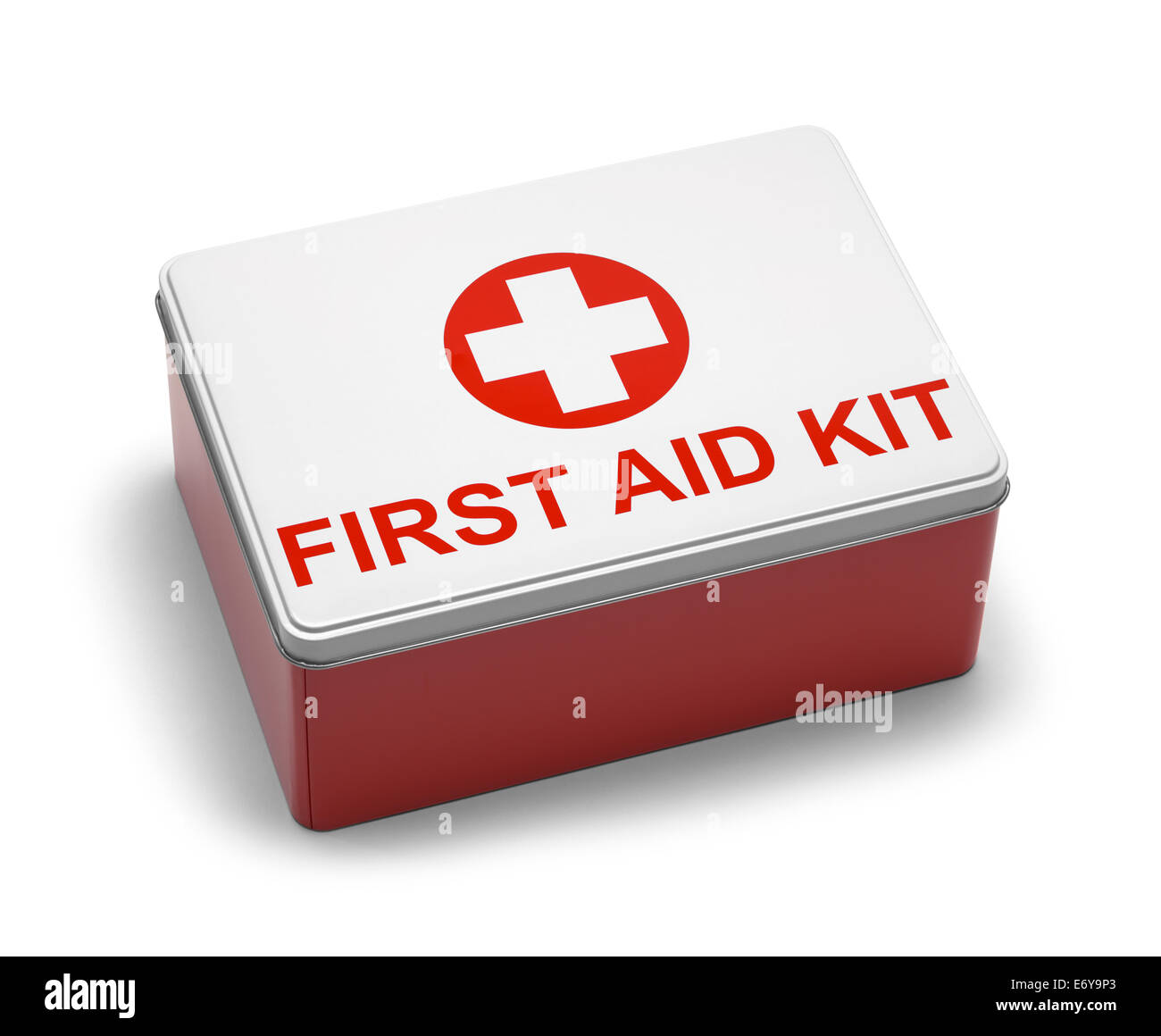 Red and White Metal First Aid Kit Box. Isolated on White Background. - Stock Image
