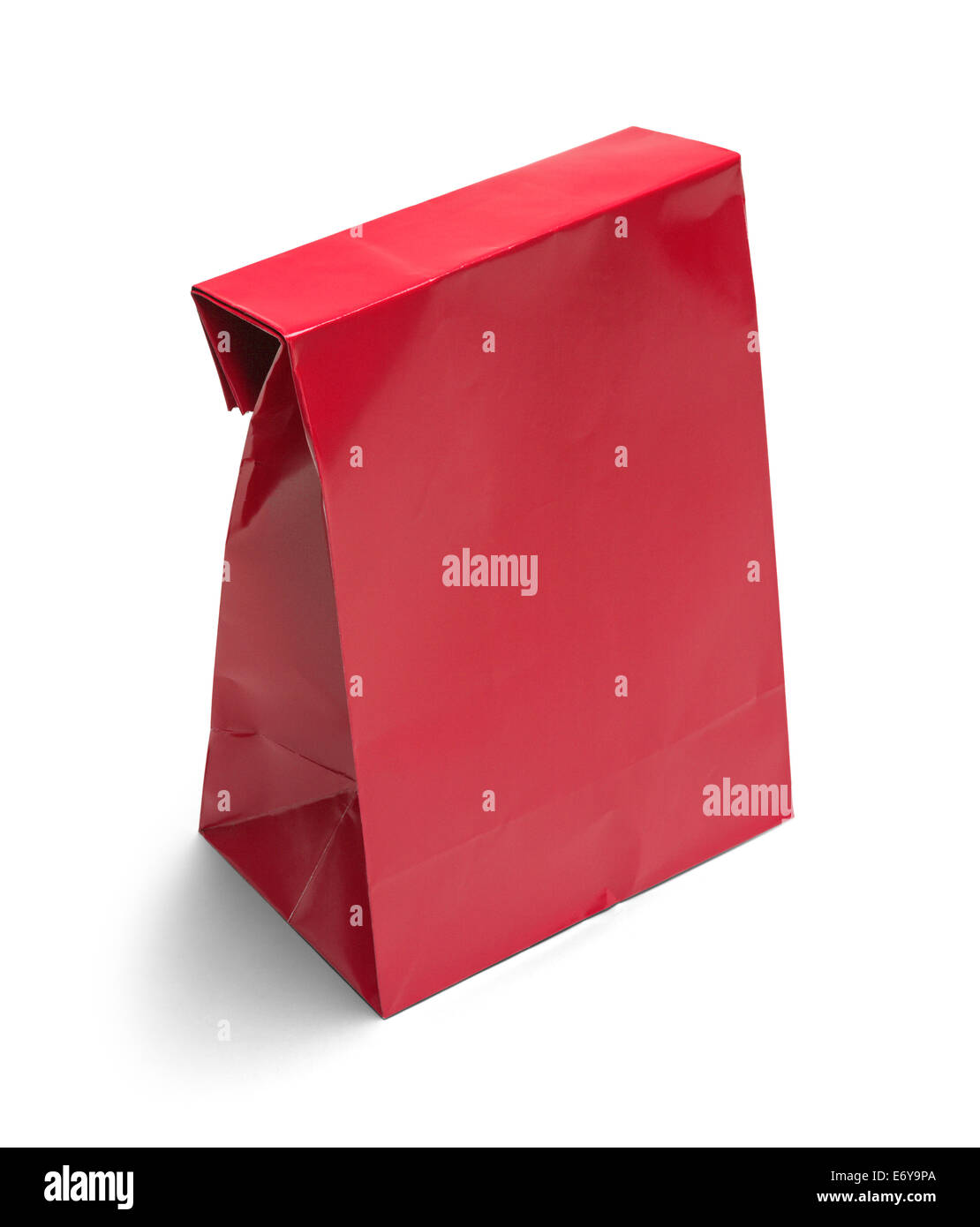 Folded Red Paper Bag Lunch with Copy Space Isolated on White Background. - Stock Image