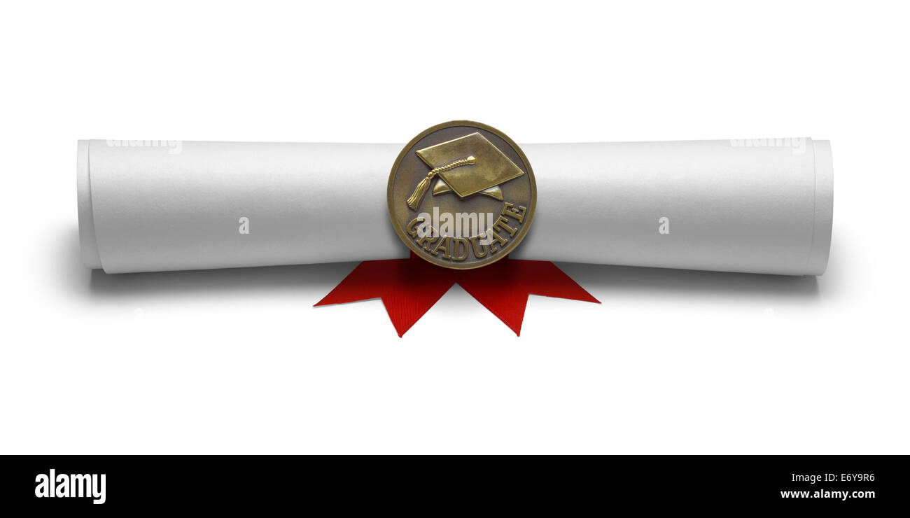 Diploma Graduate Degree with Medal Isolated on White Background. - Stock Image