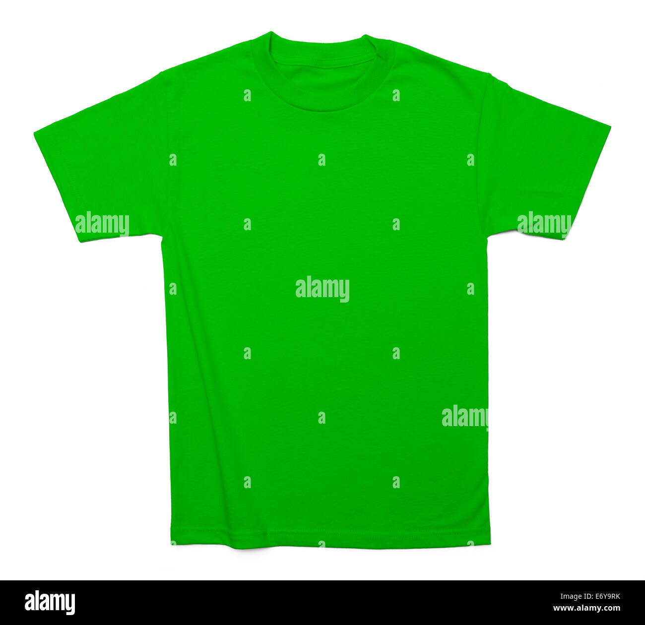 Green Cotton Shirt with Copy Space Isolated on White Background. - Stock Image