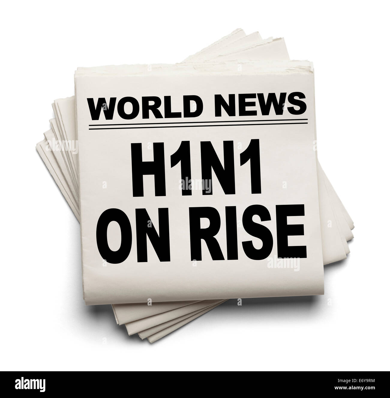 World News Paper Headline H1N1 On Rise Isolated on White Background. - Stock Image