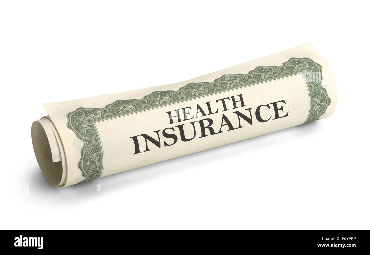 Rolled up Health Insurance Policy Isolated on White Background. - Stock Image