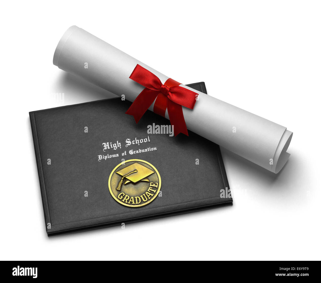 Black Diploma Cover with Rolled Degree Isolated on White Background. - Stock Image