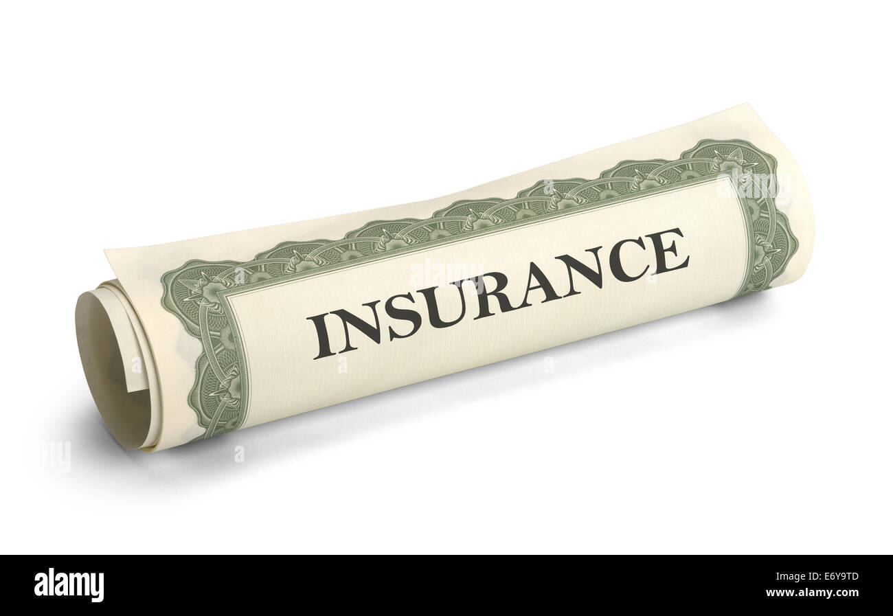 Rolled Up Insurance Contract Papers Isolated on White Background. - Stock Image