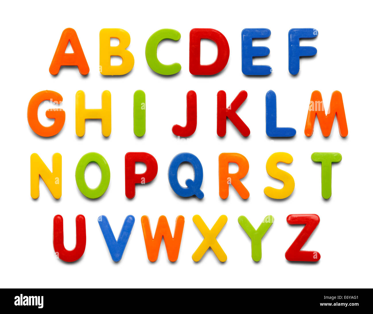 Magnetic Plastic Alphabet colorful ABC Letters Isolated on White Background. - Stock Image