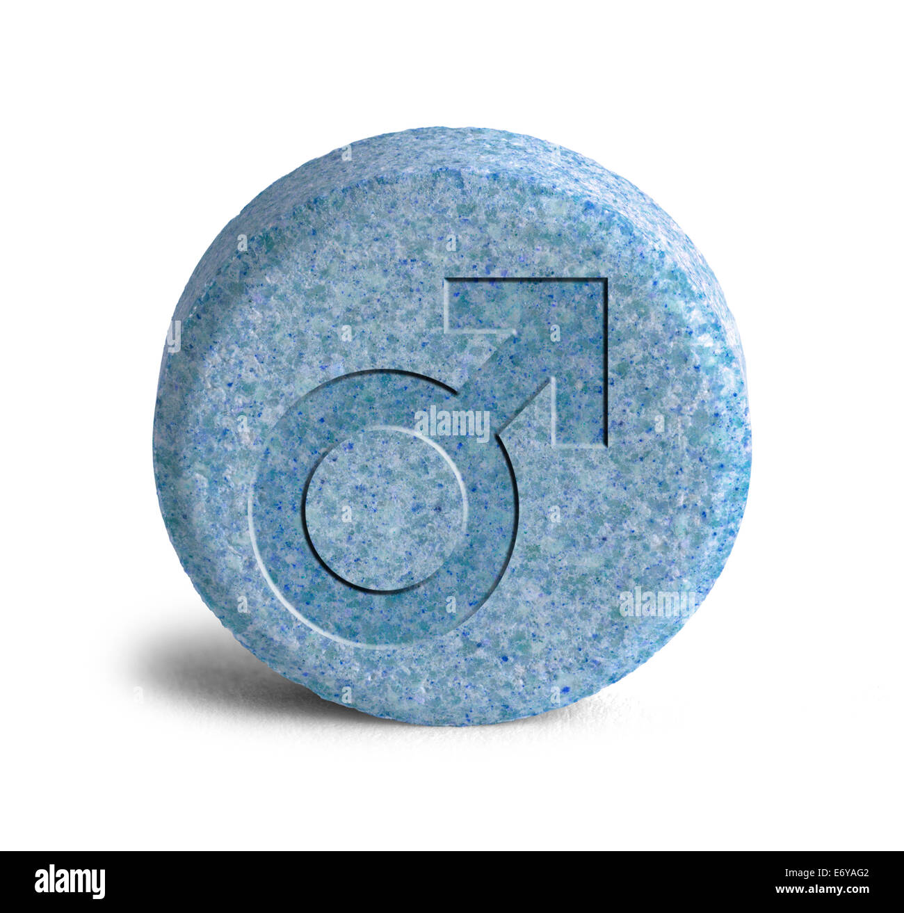 Large Blue Pill With a Male Symbol Isolated on White Background. - Stock Image