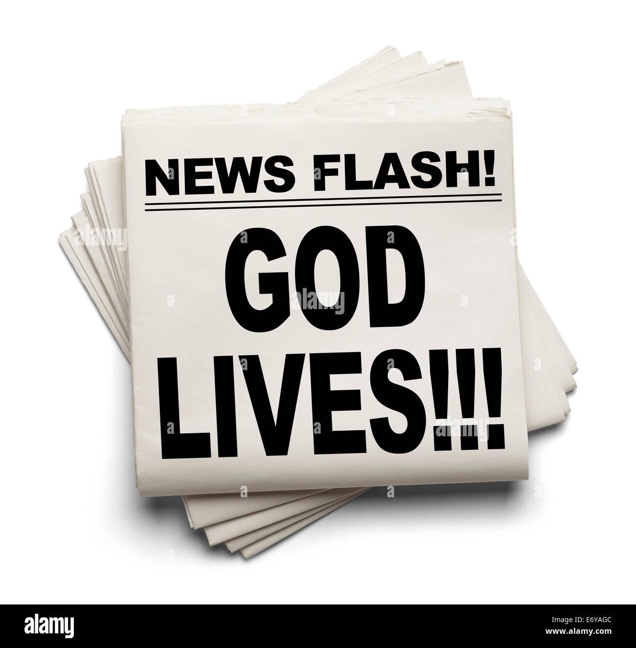News Flash God Lives News Paper Isolated on White Background. - Stock Image