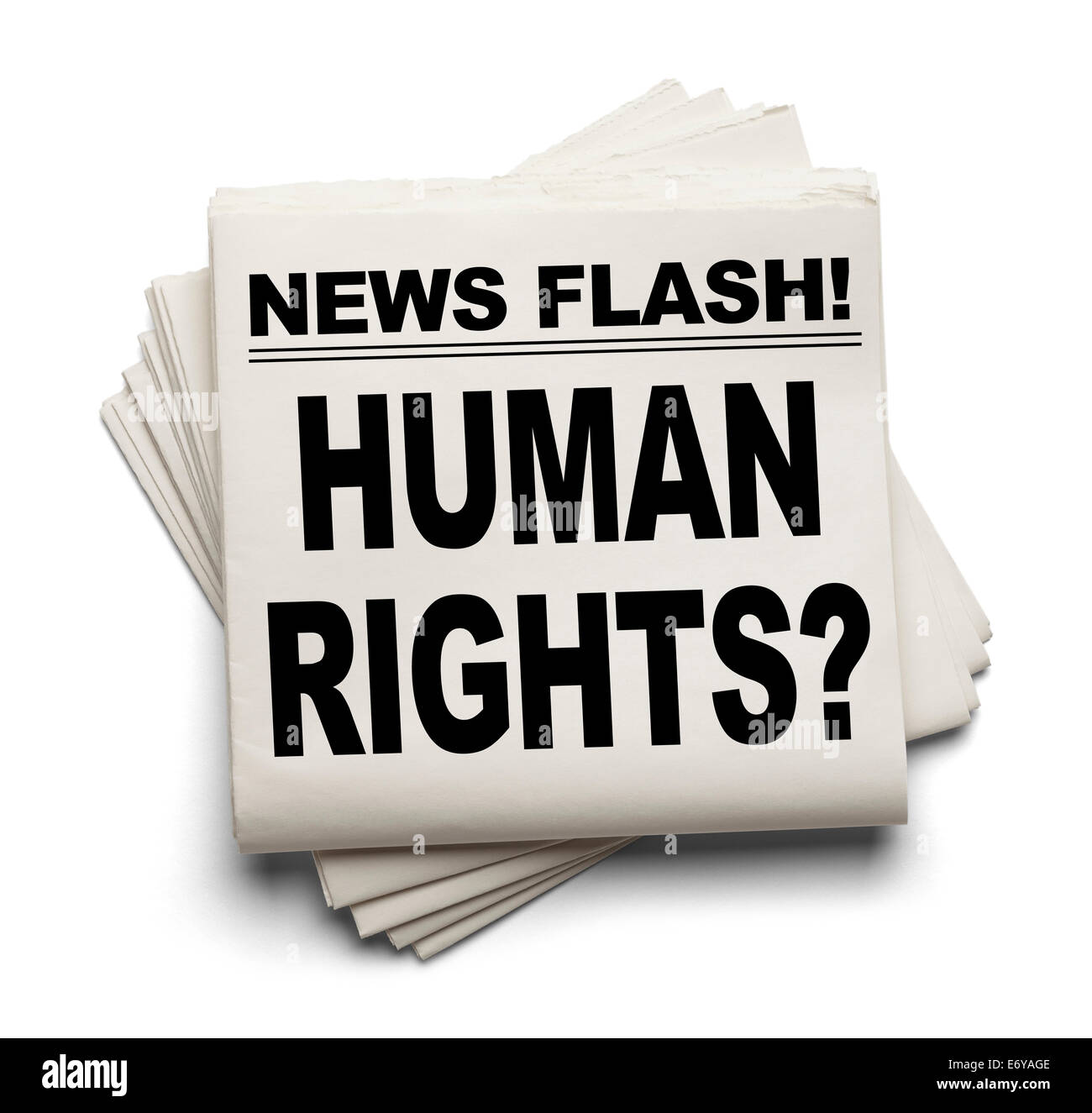 News Flash Human Rights? News Paper Isolated on White Background. - Stock Image