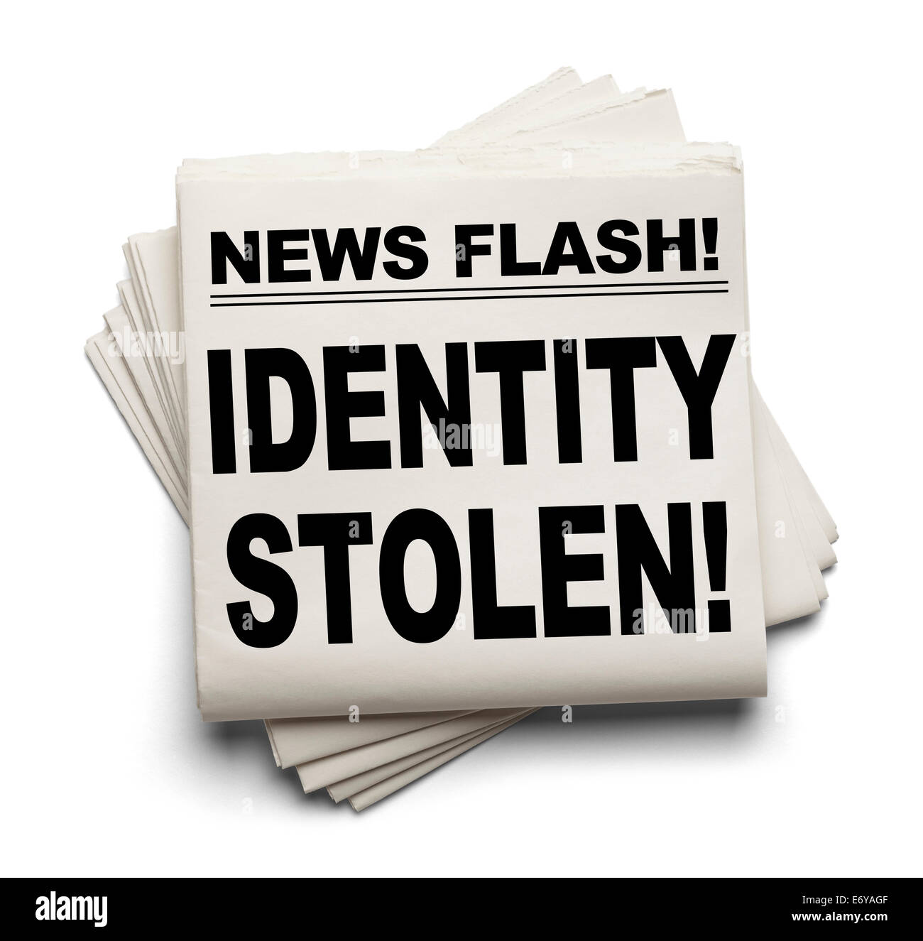 News Flash Identity Stolen News Paper Isolated on White Background. - Stock Image