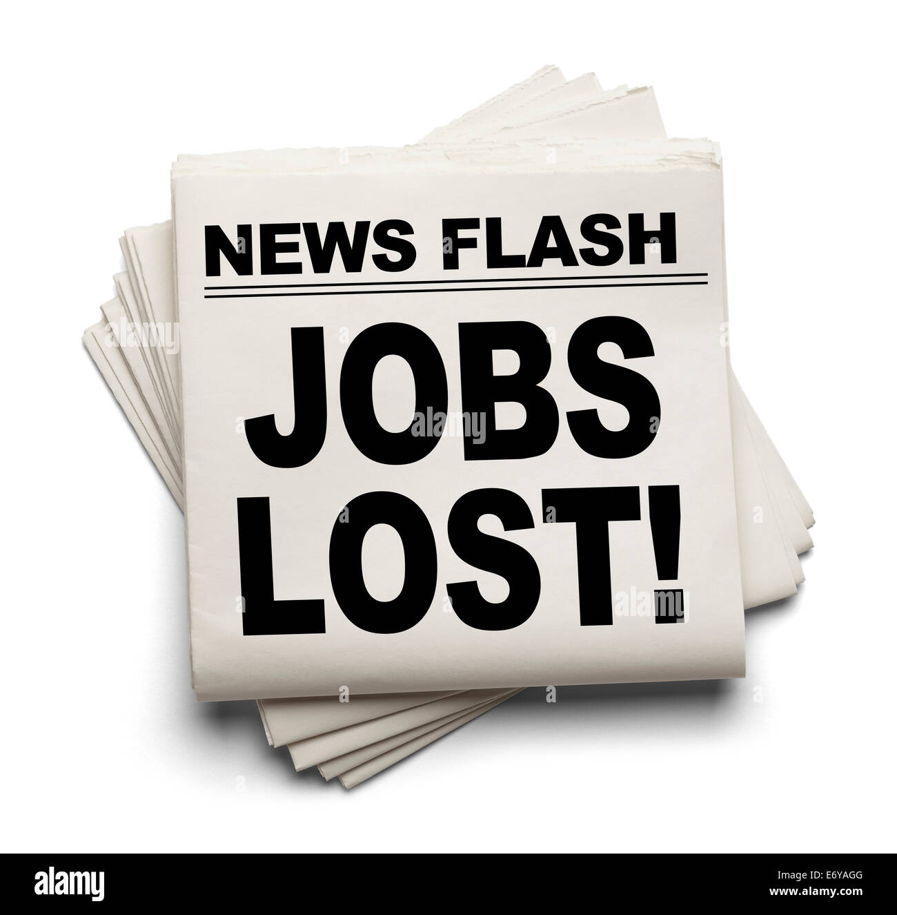 News Flash Jobs Lost News Paper Isolated on White Background. - Stock Image