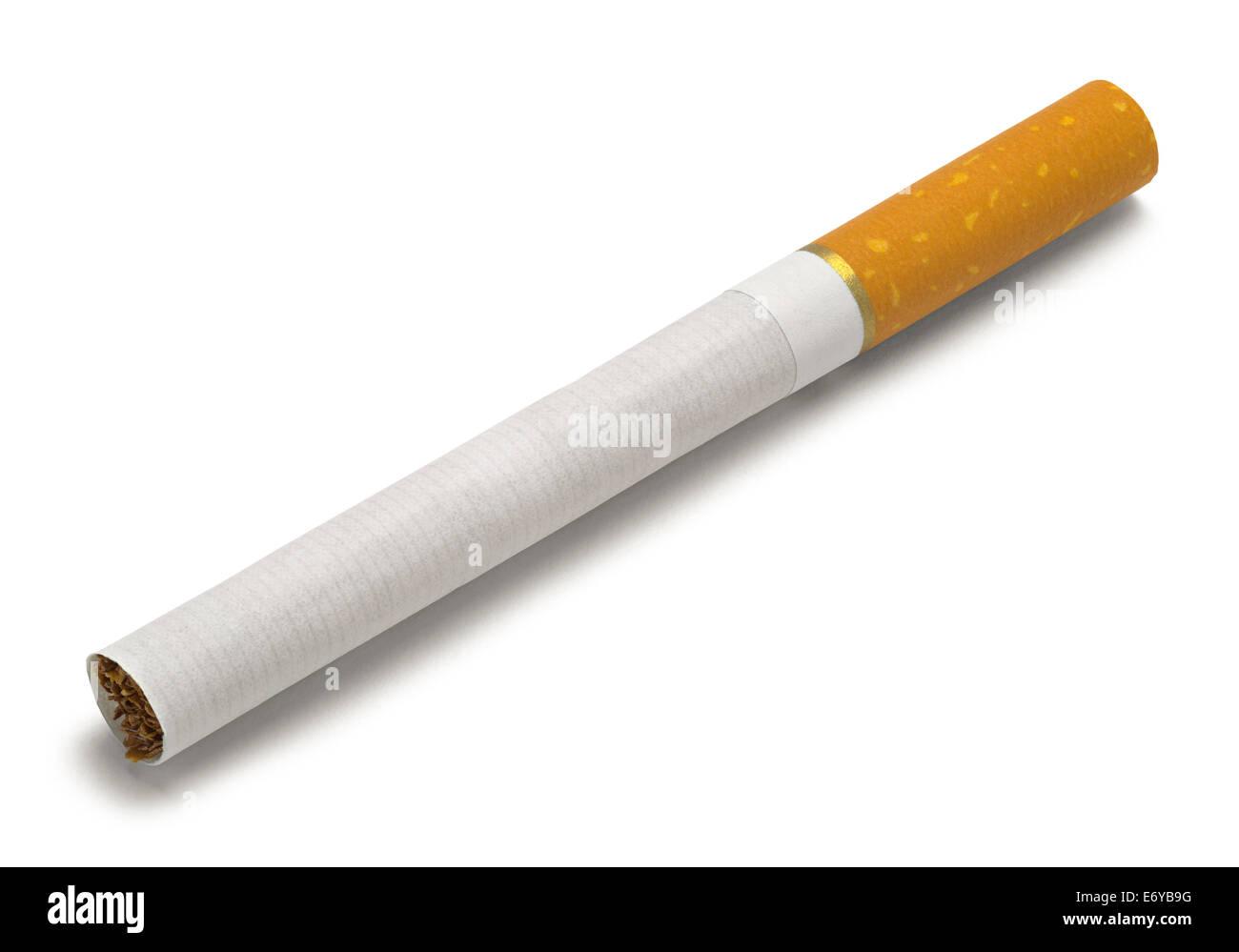 Single New Cigarette Isolated on White Background. - Stock Image