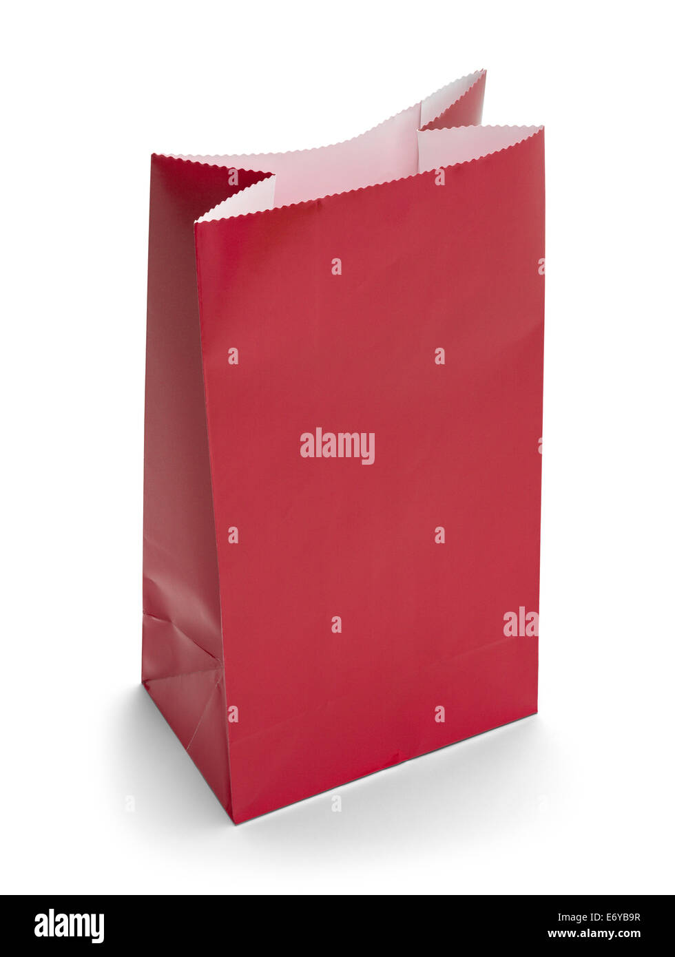 Red Paper Bag Lunch with Copy Space Isolated on White Background. - Stock Image