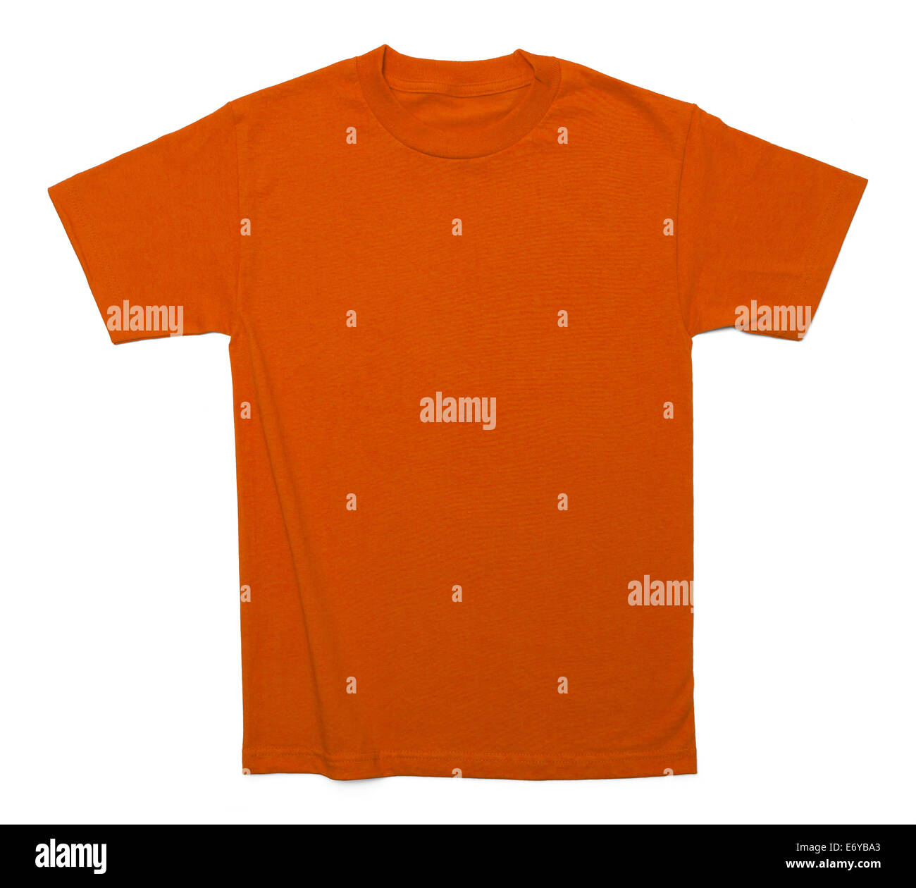 Orange Cotton Shirt with Copy Space Isolated on White Background. - Stock Image