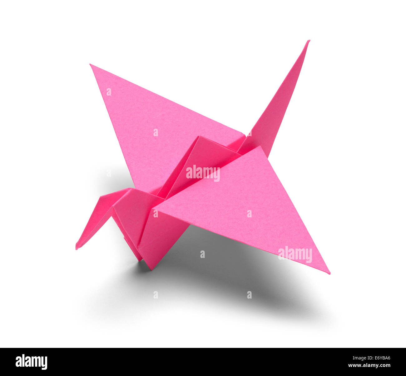 Pink Origami Paper Crane Isolated on White Background. - Stock Image