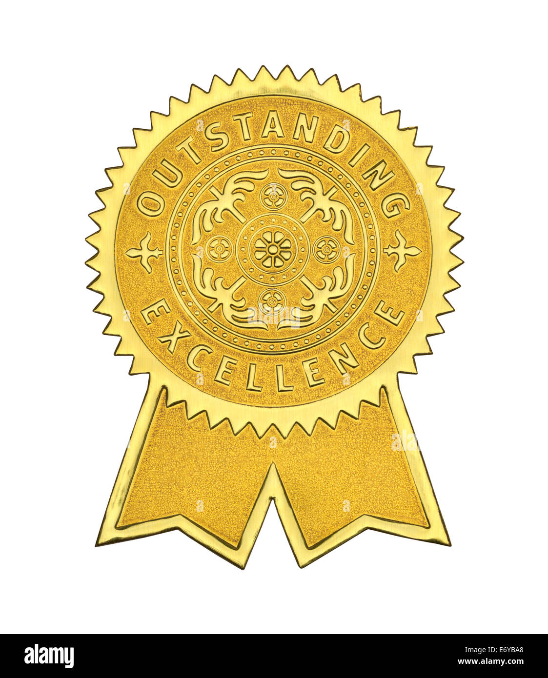 Gold Excellence Seal With Ribbons Isolated on White Background. - Stock Image