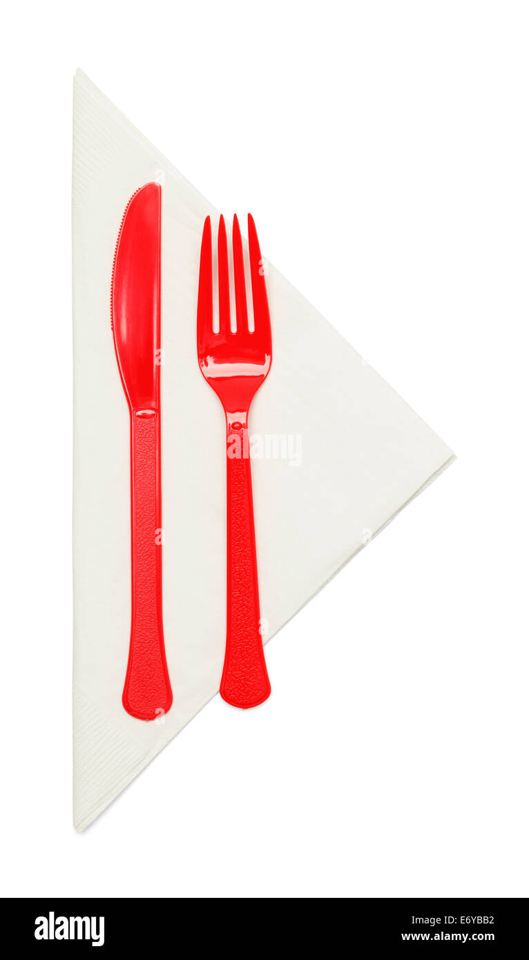 Plastic Silverware with Napkin Isolated on White Background. - Stock Image