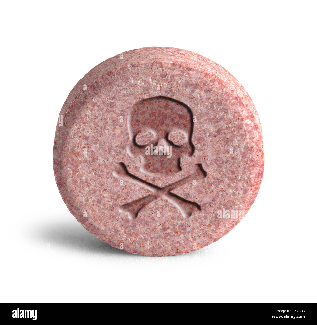 Pink Pill with Skull and Cross Bones Isolated on White Background. - Stock Image