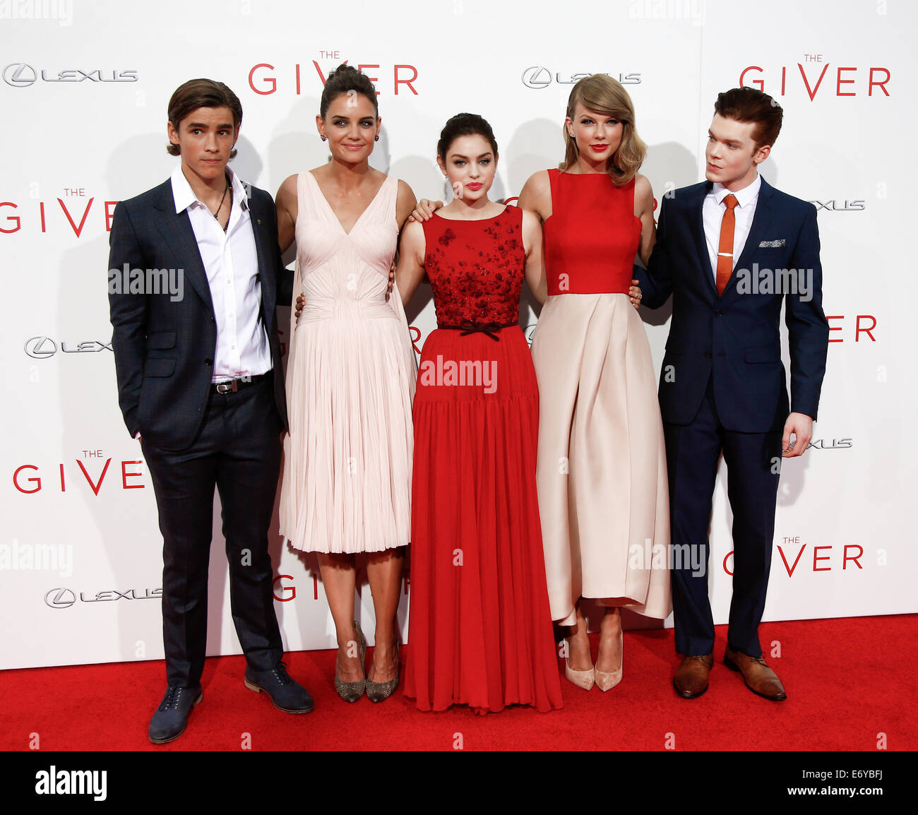 (L-R) Actors Brenton Thwaites, Katie Holmes, Odeya Rush, Taylor Swift and Cameron Monaghan attend the premiere of - Stock Image