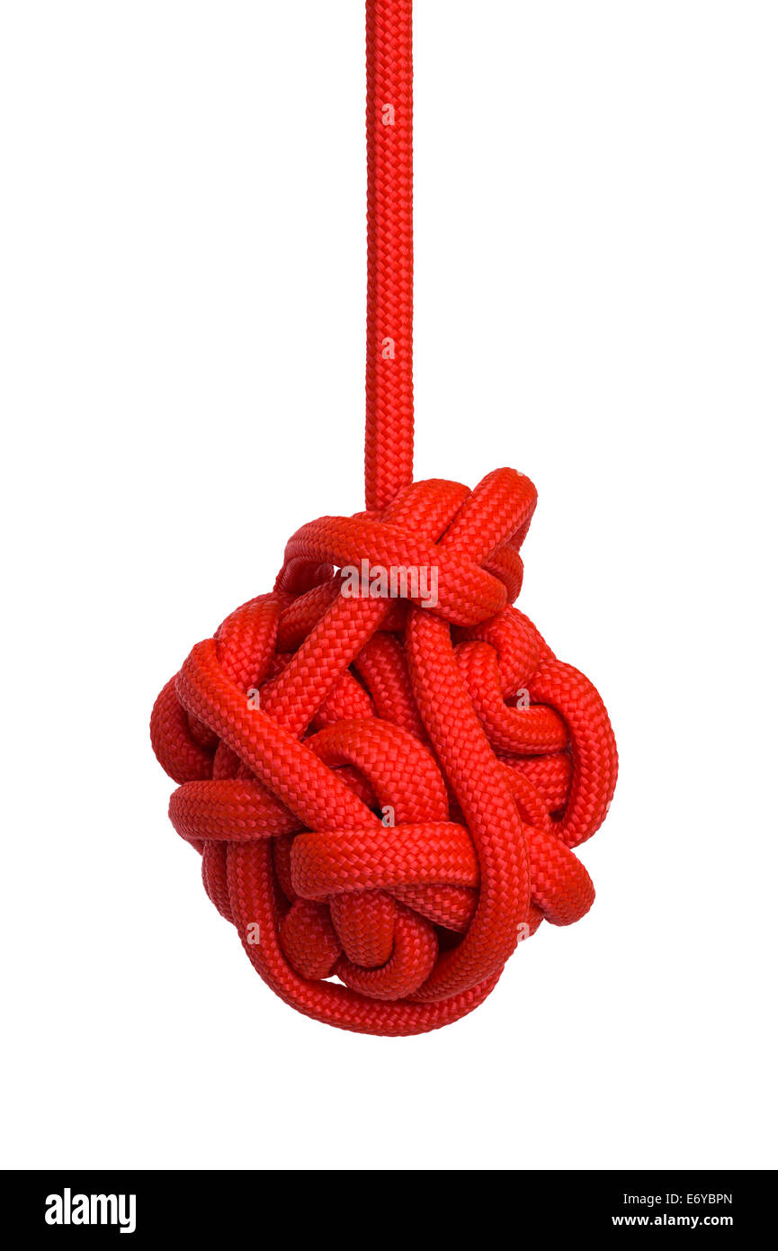Large Red Hanging Knot Isolated on White Background. - Stock Image