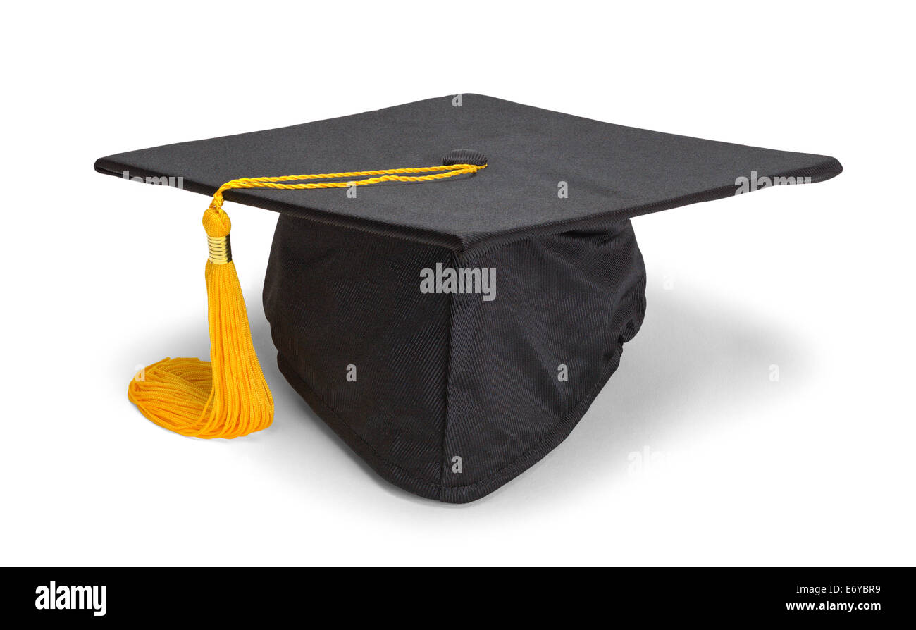 Black Graduation Hat with Gold Tassel Isolated on White Background. - Stock Image