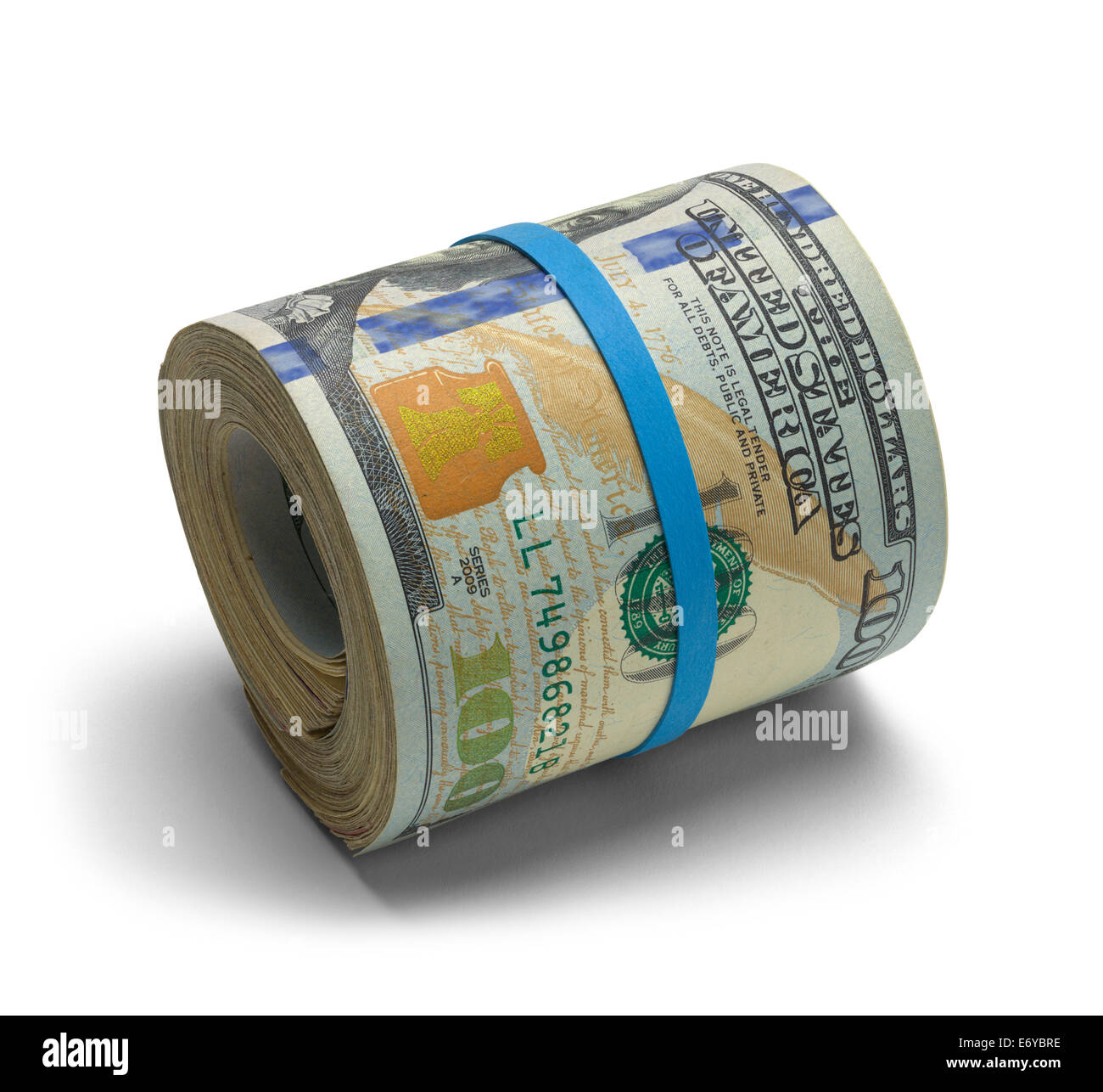 Hundred dollar bills rolled up with rubberband. - Stock Image