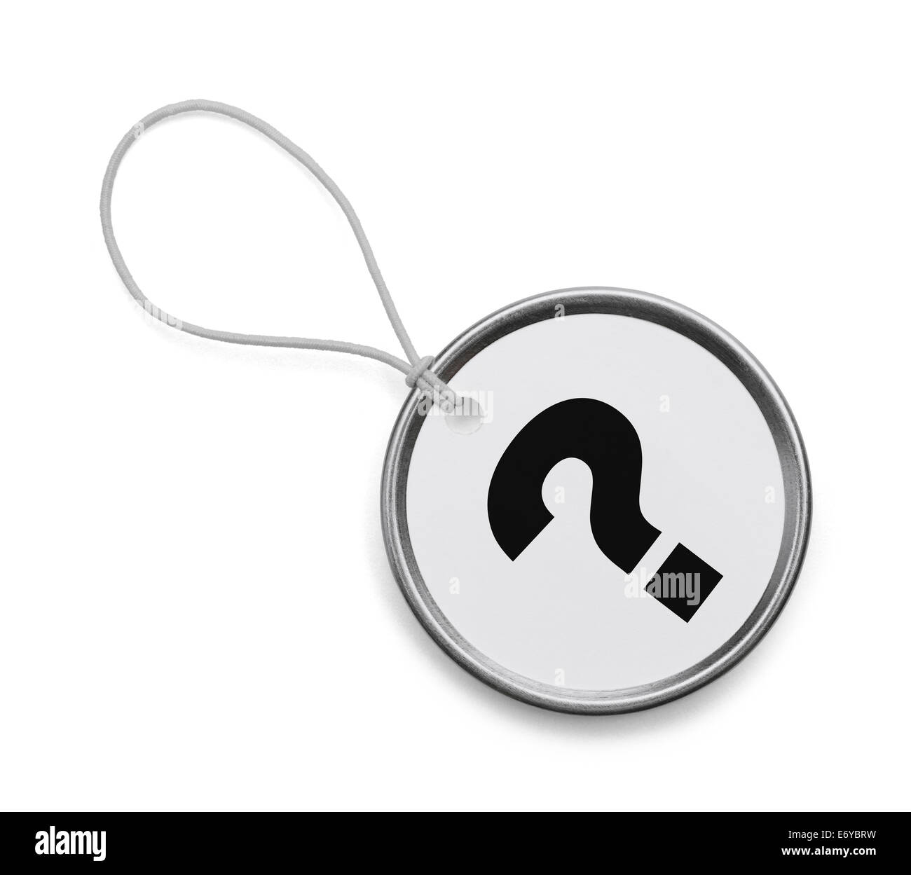 White Circle Tag with Question Mark Isolated on White Background. - Stock Image