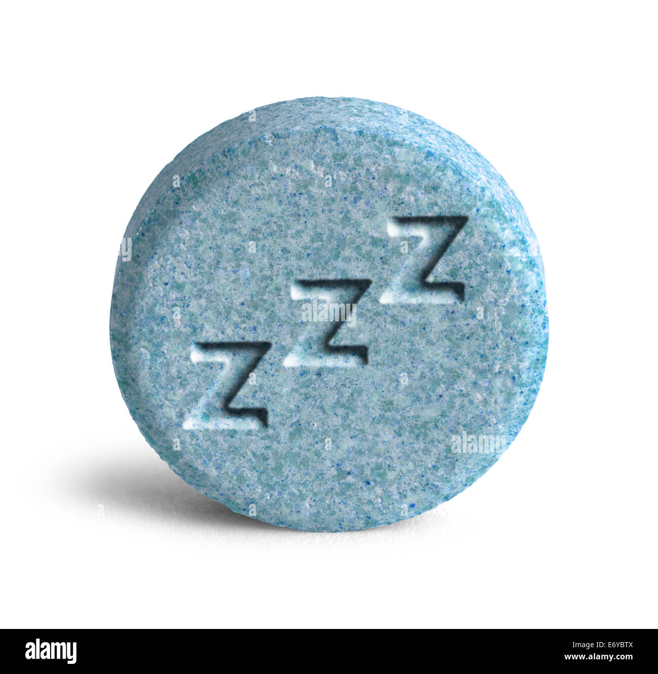 Blue Sleeping Pill with Three Z Isolated on White Background. - Stock Image