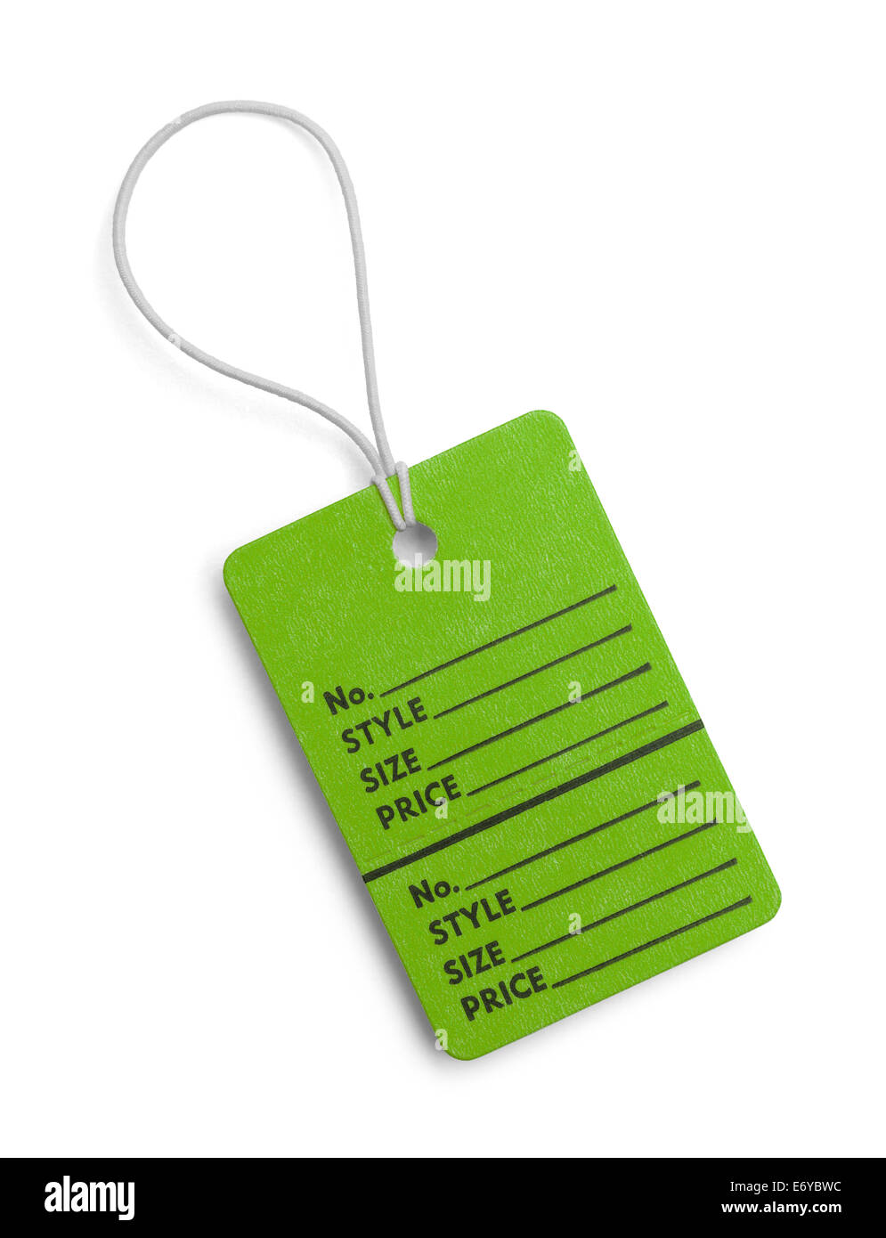 Green Retail Tag with Copy Space Isolated on White Background. - Stock Image