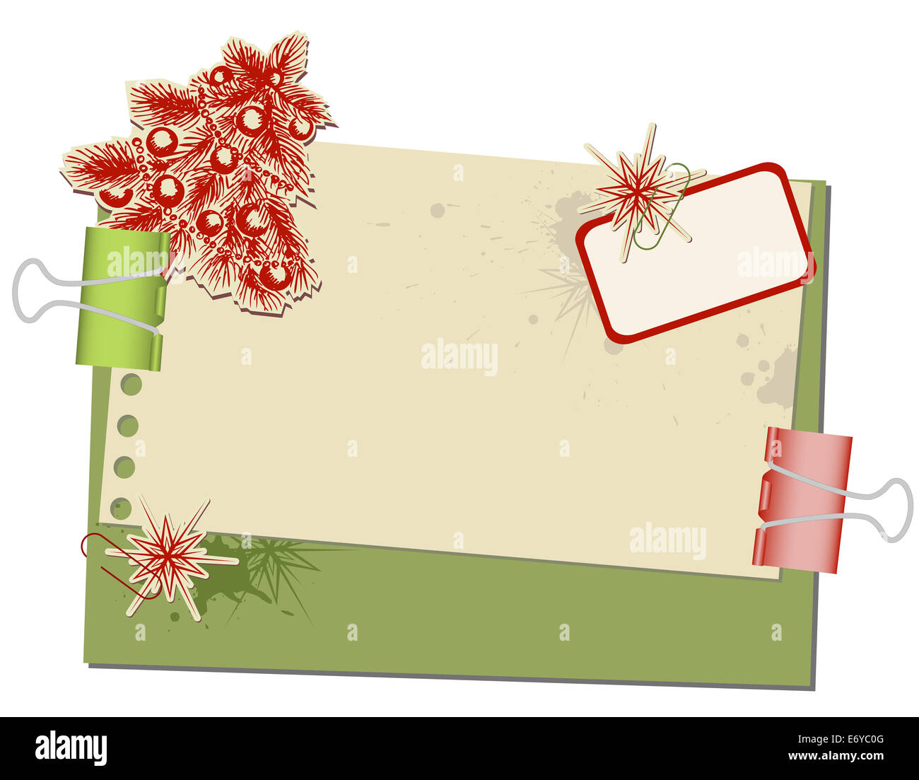 Christmas background with old spotted paper and paper clips - Stock Image