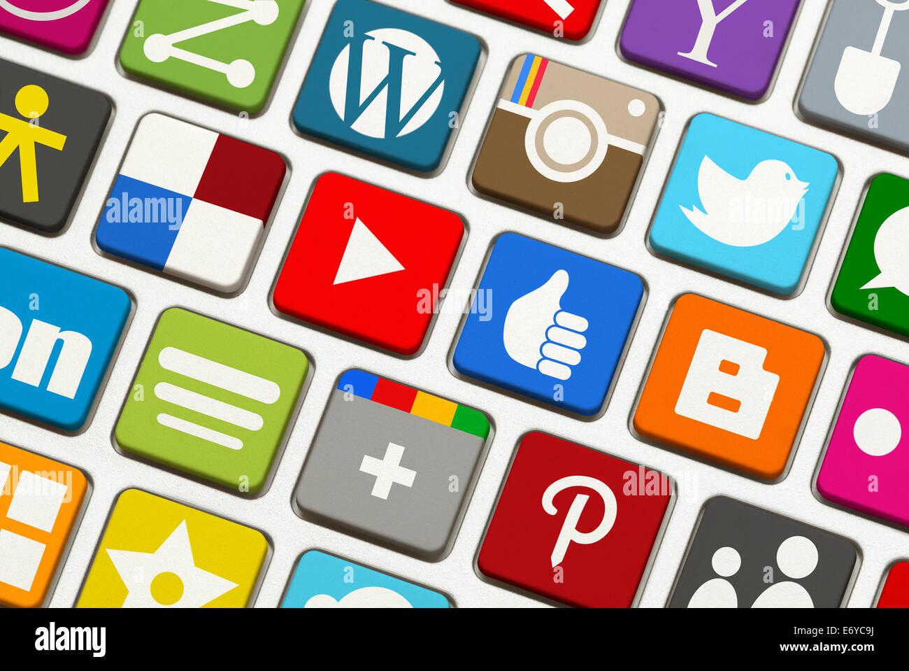 Keyboard with Popular Social Networking Launch Keys. - Stock Image