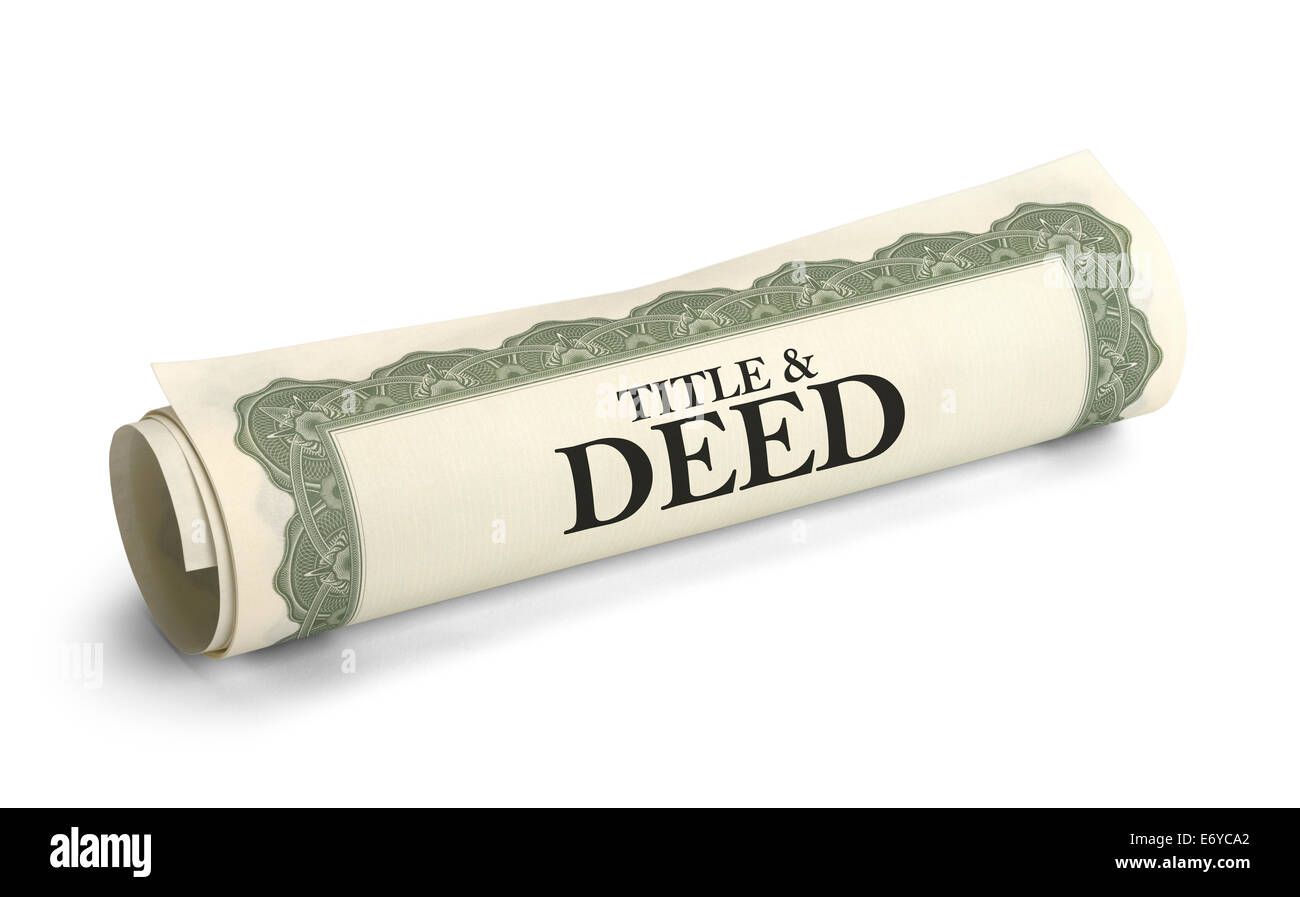 Title and Deed Paper Document Rolled and Isolated on a White Background. - Stock Image