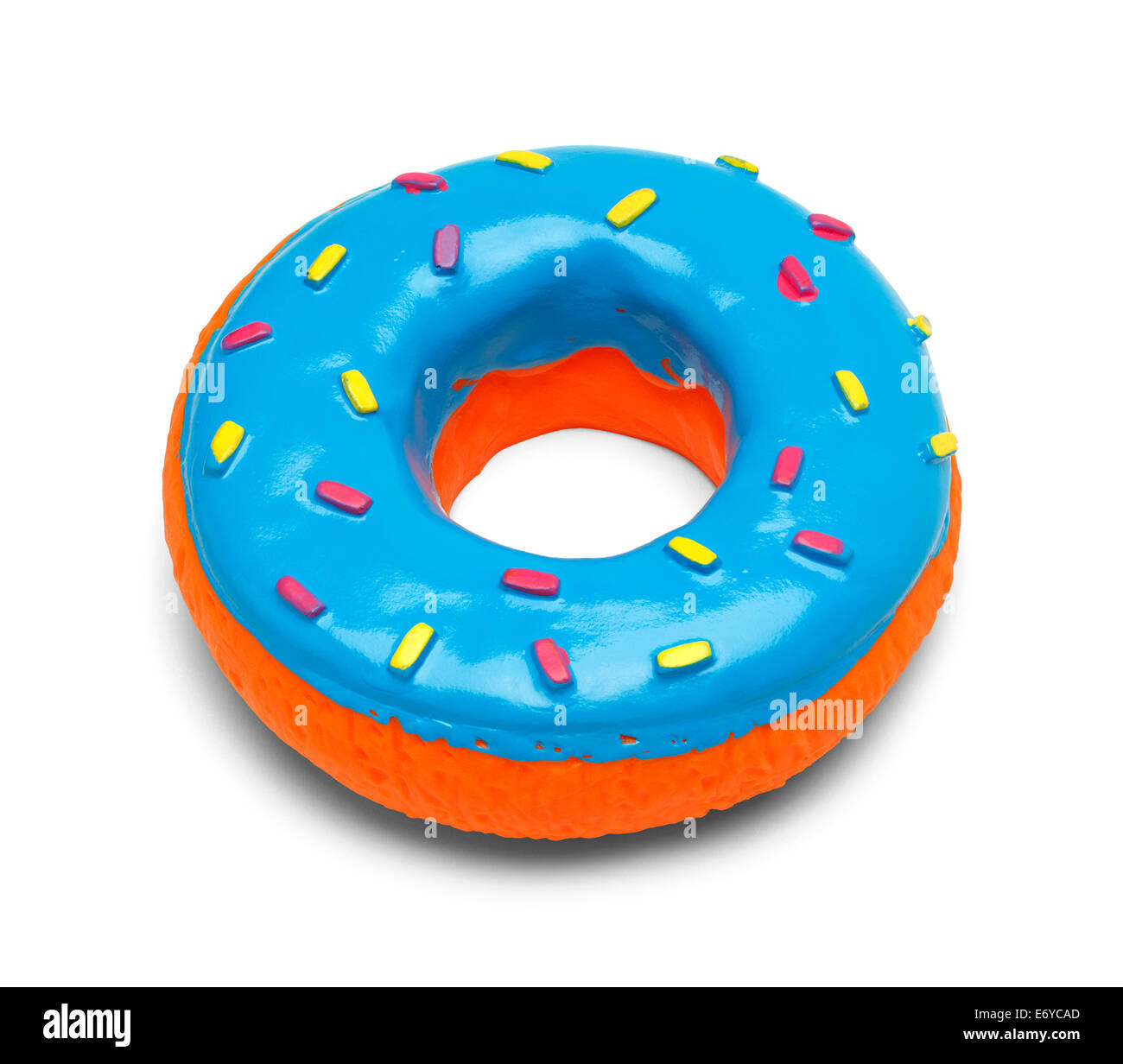 Squeaky Blue Donut with Sprinkles Isolated on White Background. - Stock Image