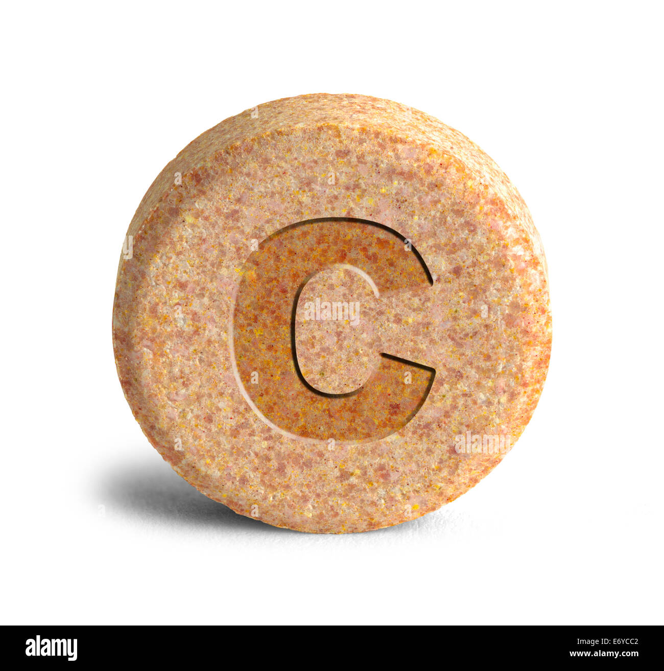 Large Orange Vitimin C Pill Isolated on White Background. - Stock Image