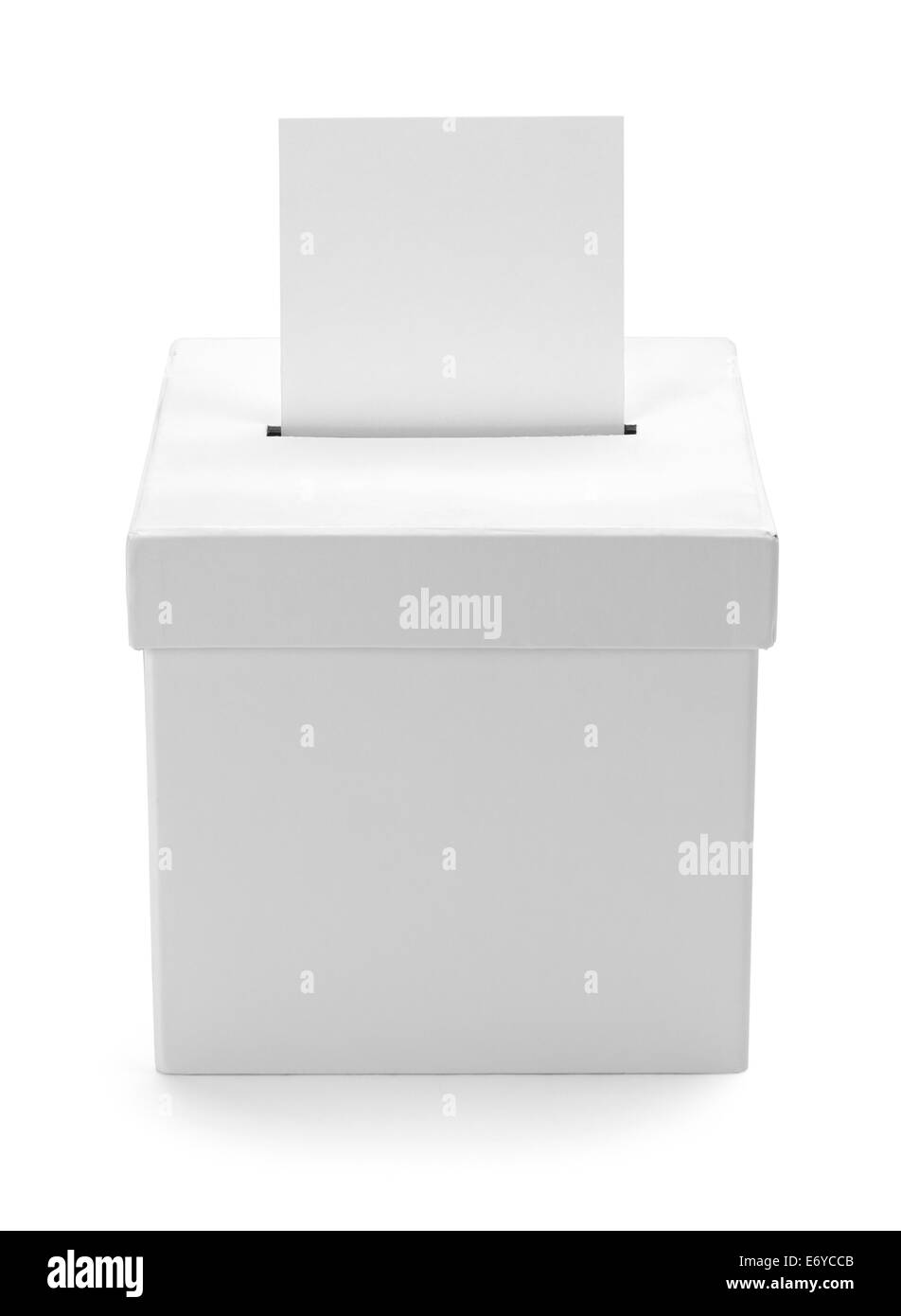 Cardboard White Ballot Box with Copy Space Isolated on White Background. - Stock Image