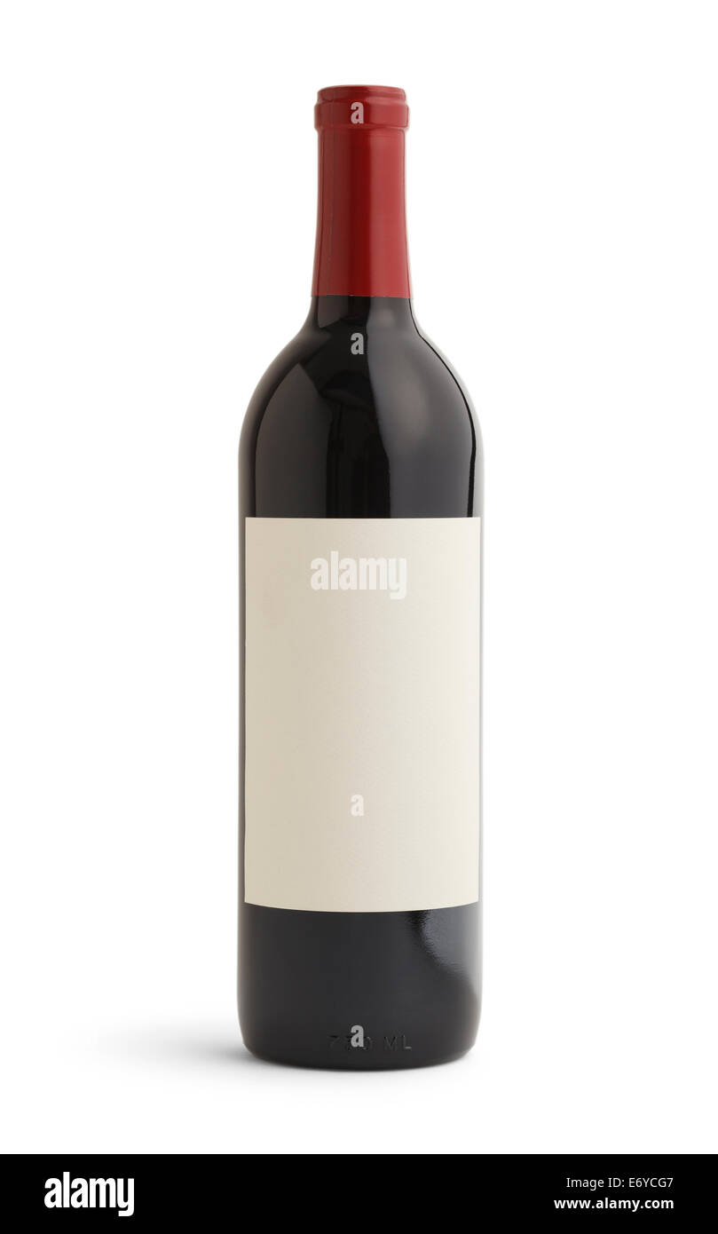 Single Bottle of Wine With Blank Label and Red Top. Isolated on White Background. - Stock Image