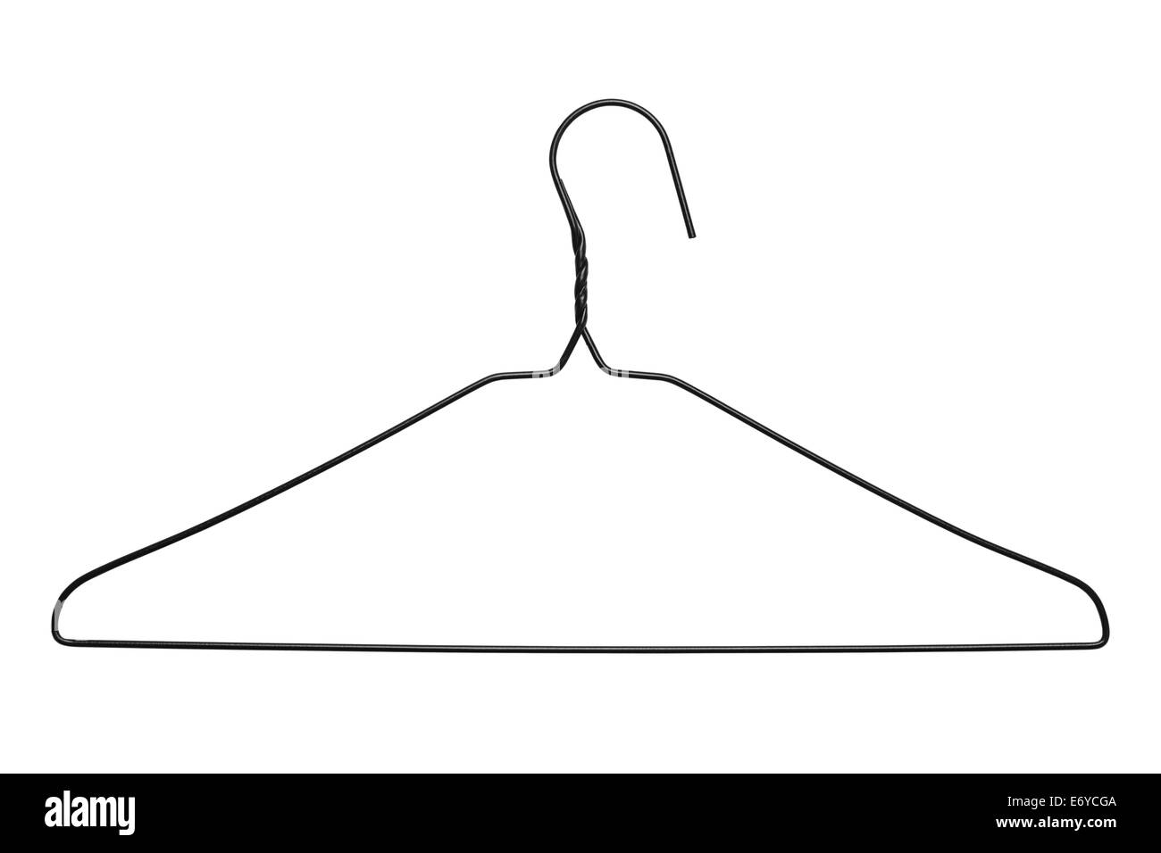 Thin Black WIre Clothes Hanger Isolated on White Background. - Stock Image