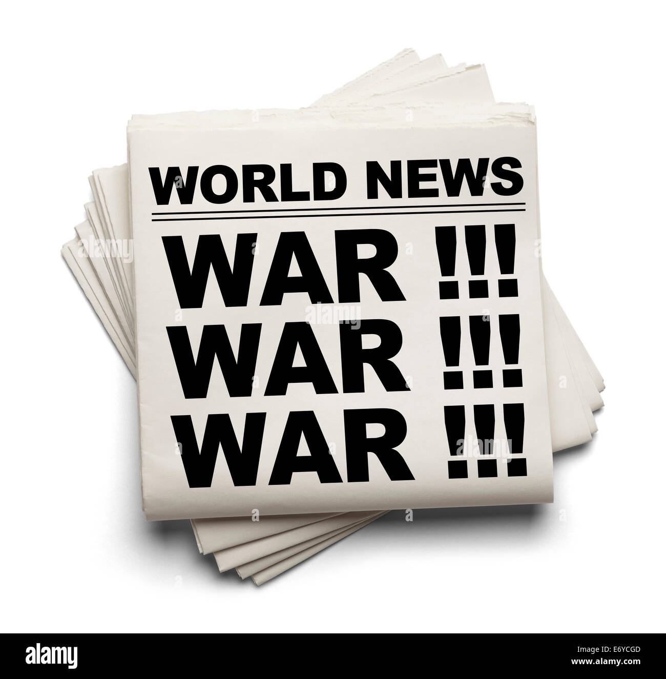 World News Paper Headline War Isolated on White Background. - Stock Image